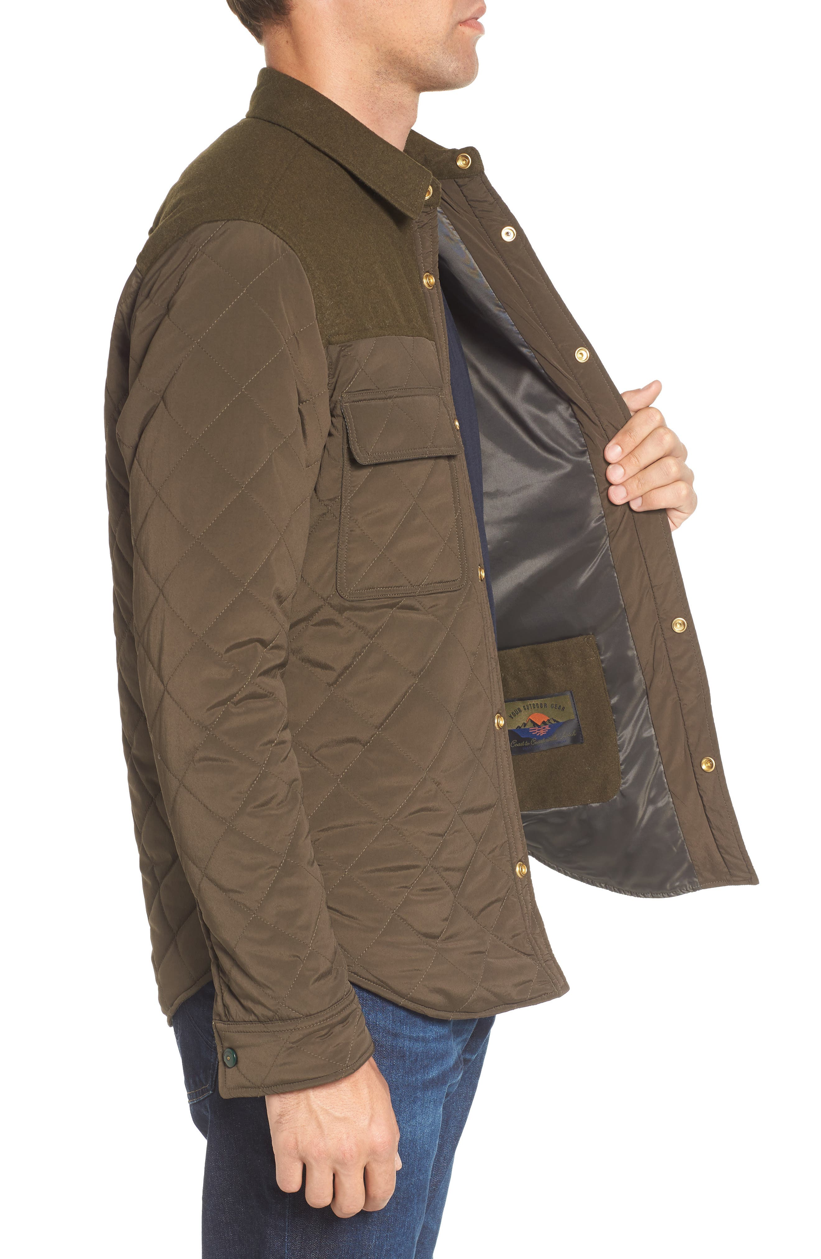 Quilted Shirt Jacket,                             Alternate thumbnail 3, color,                             Army