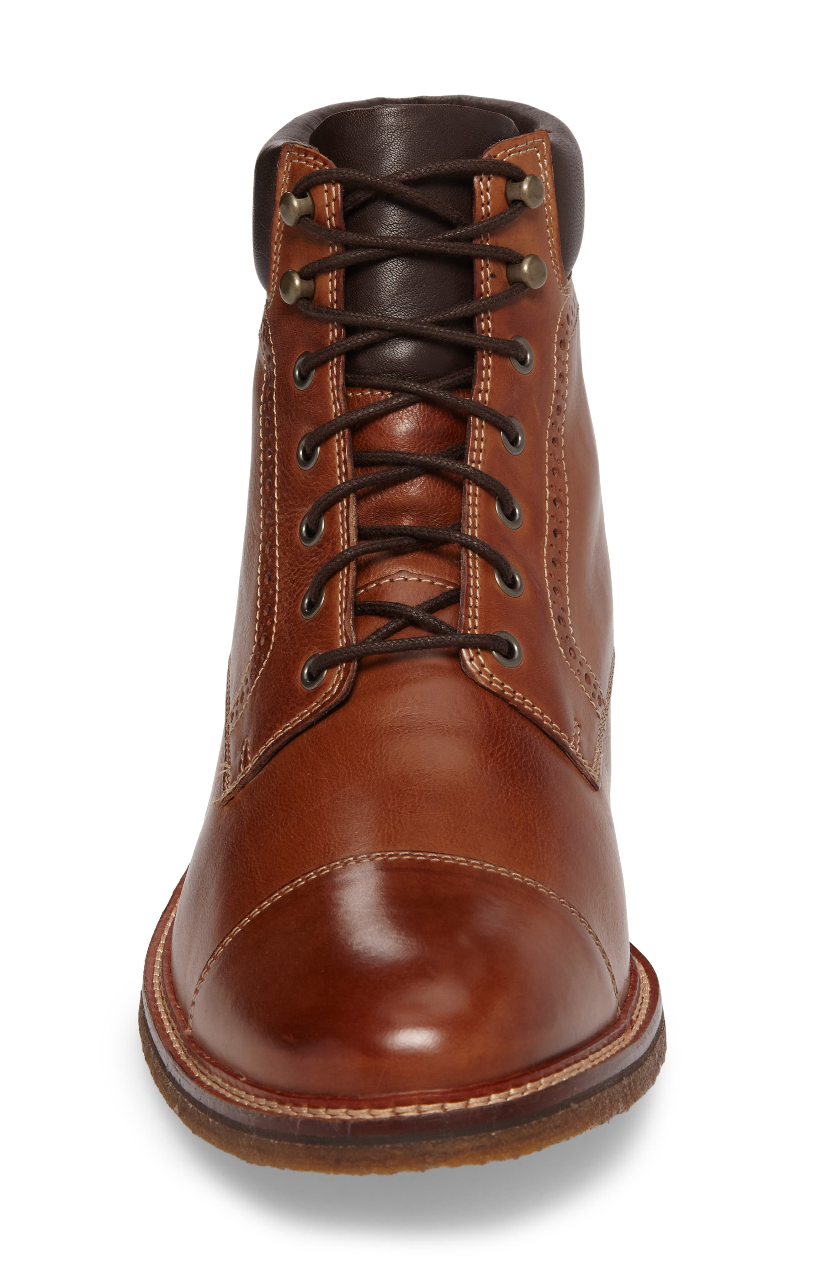 Forrester Cap Toe Boot,                             Alternate thumbnail 5, color,                             Tan Leather