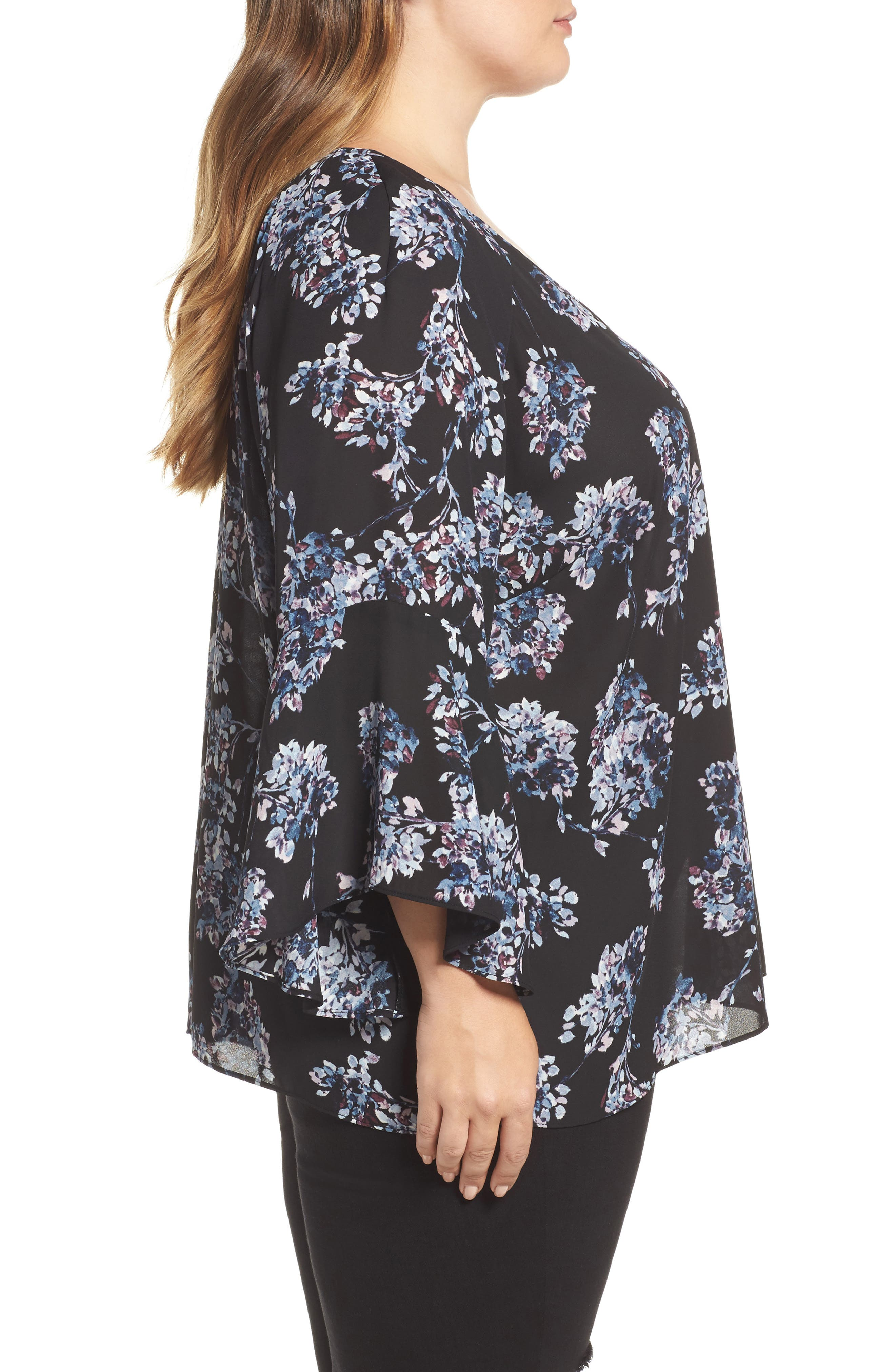 Floral Print Bell Sleeve Top,                             Alternate thumbnail 3, color,                             Black Multi