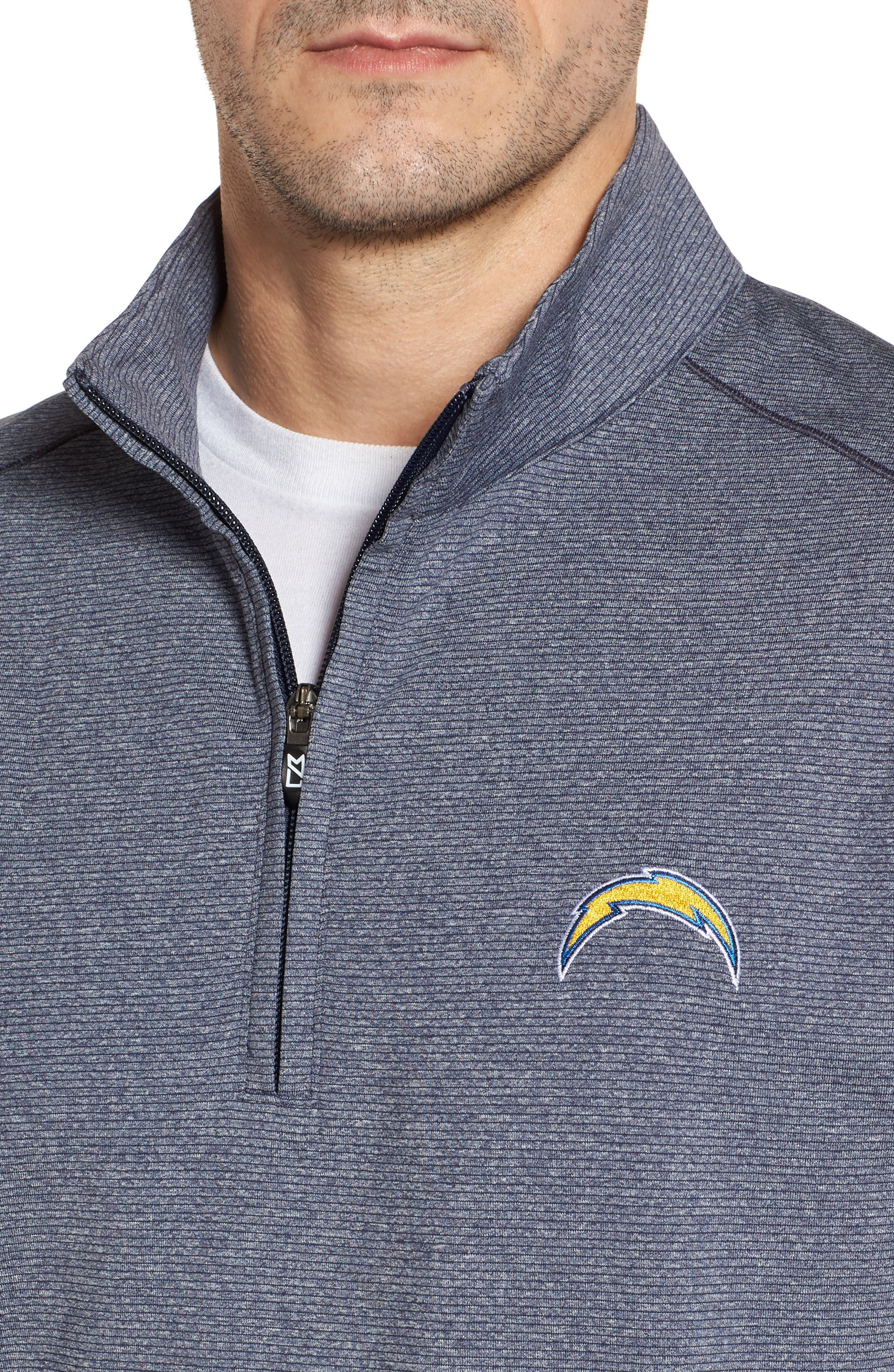 Shoreline - Los Angeles Chargers Half Zip Pullover,                             Alternate thumbnail 4, color,                             Liberty Navy Heather