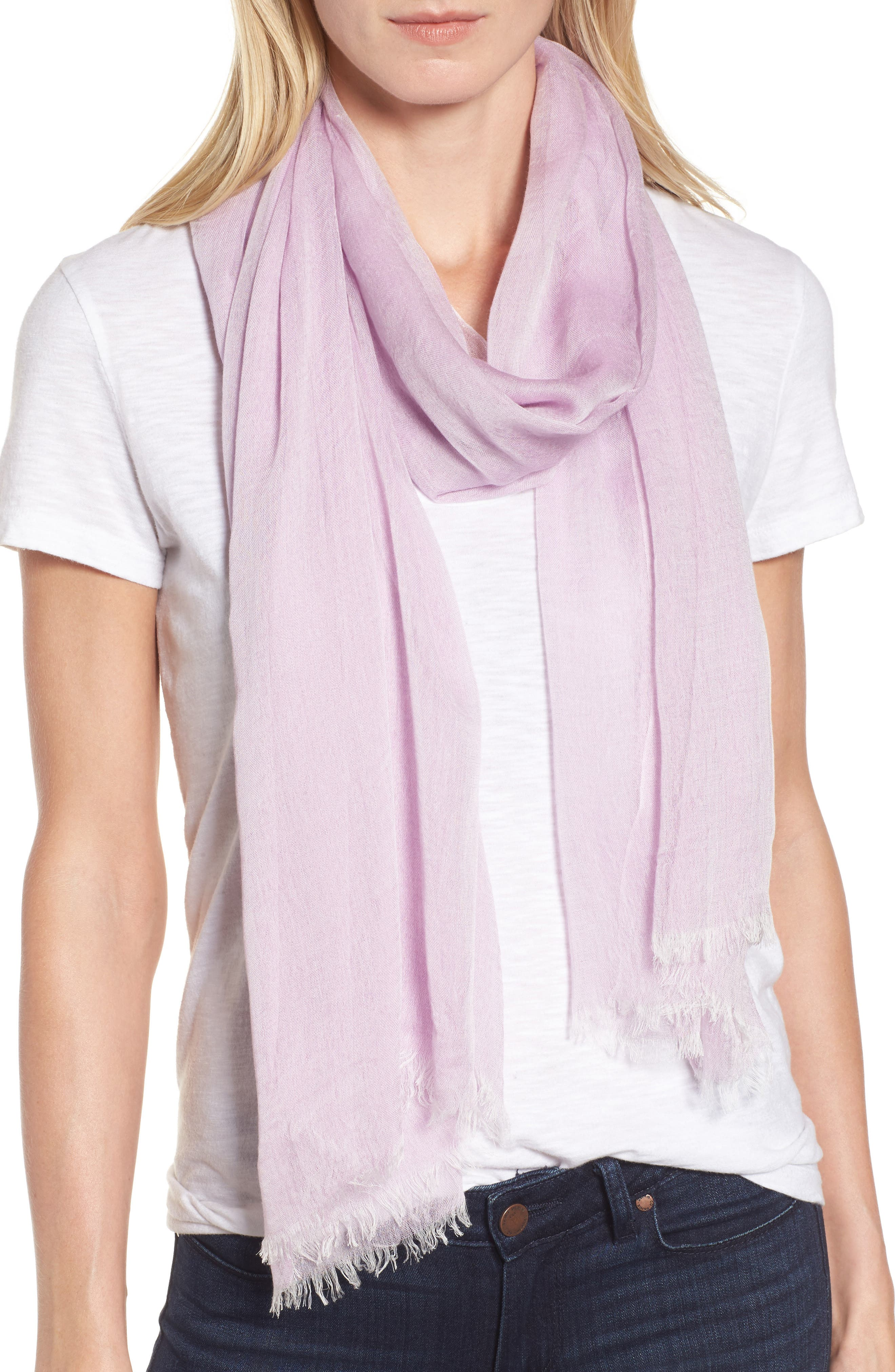 Modal Silk Blend Scarf,                         Main,                         color, Purple Sheer Combo