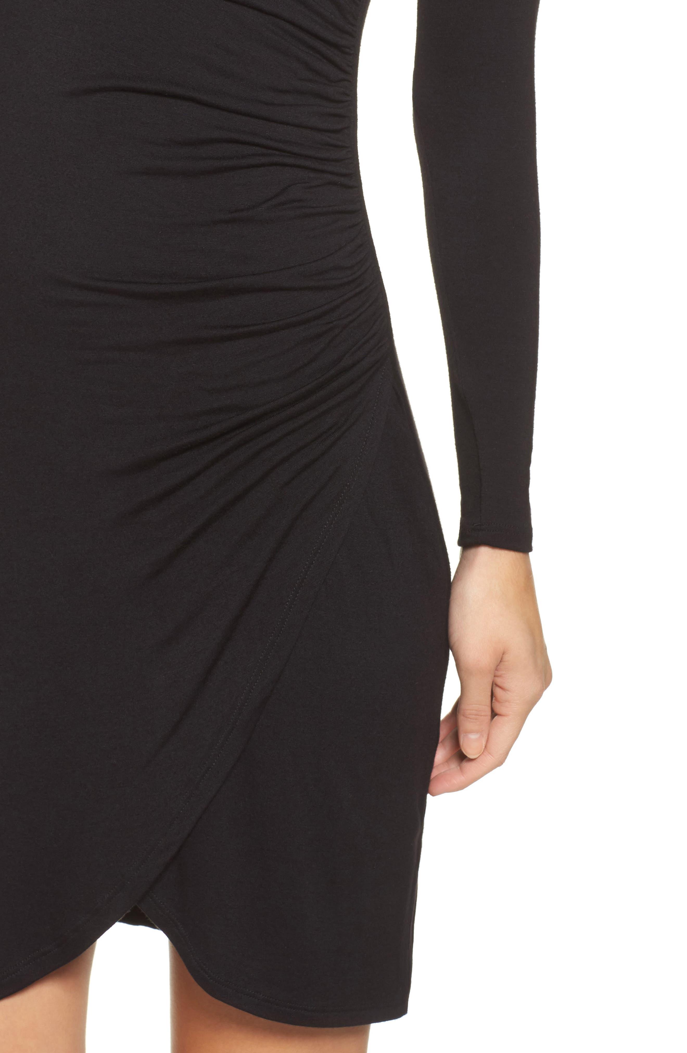 Knit Tulip Hem Dress,                             Alternate thumbnail 4, color,                             Black