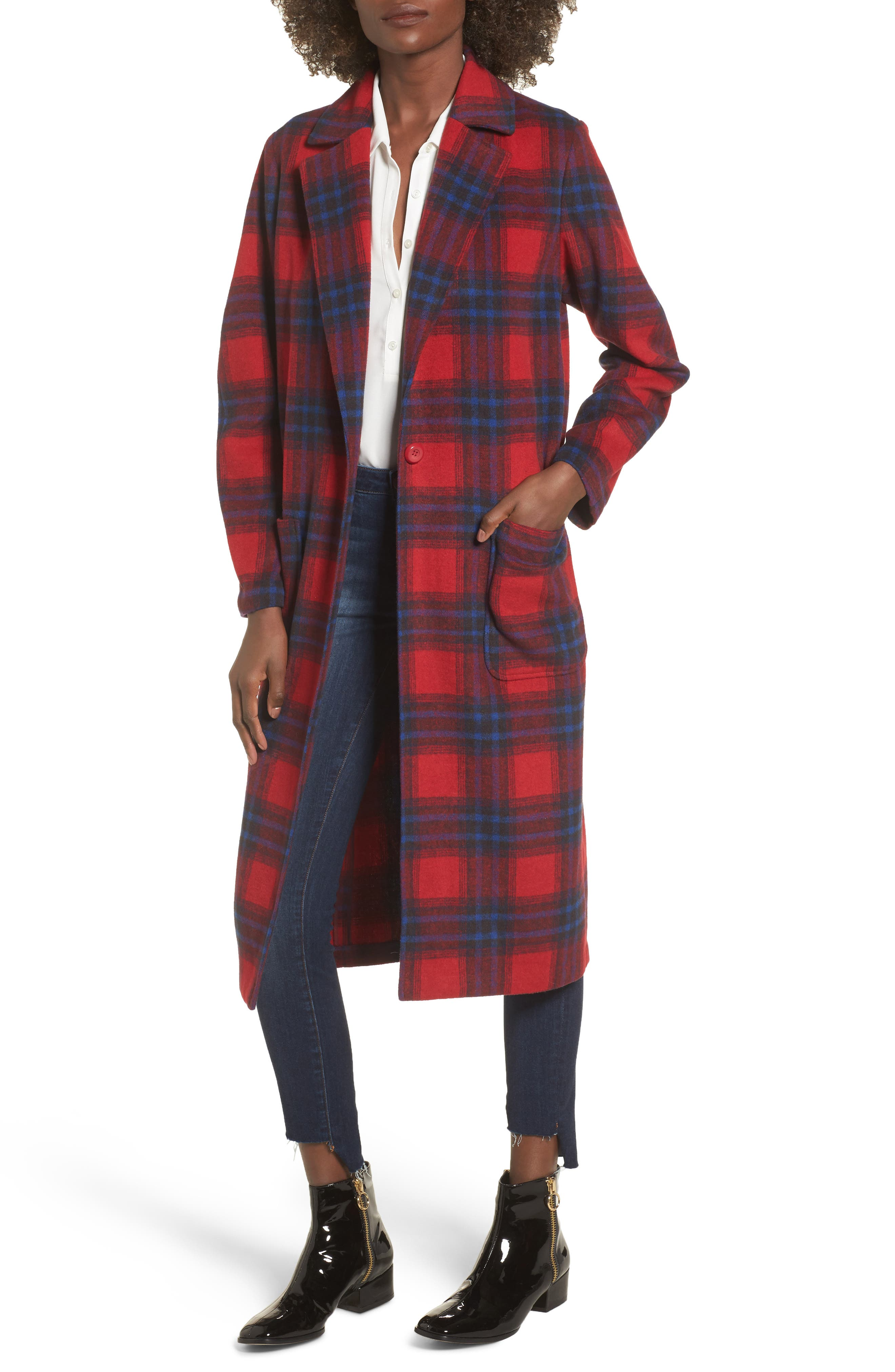 Single Button Plaid Coat,                         Main,                         color, Red Bloom Heritage Plaid