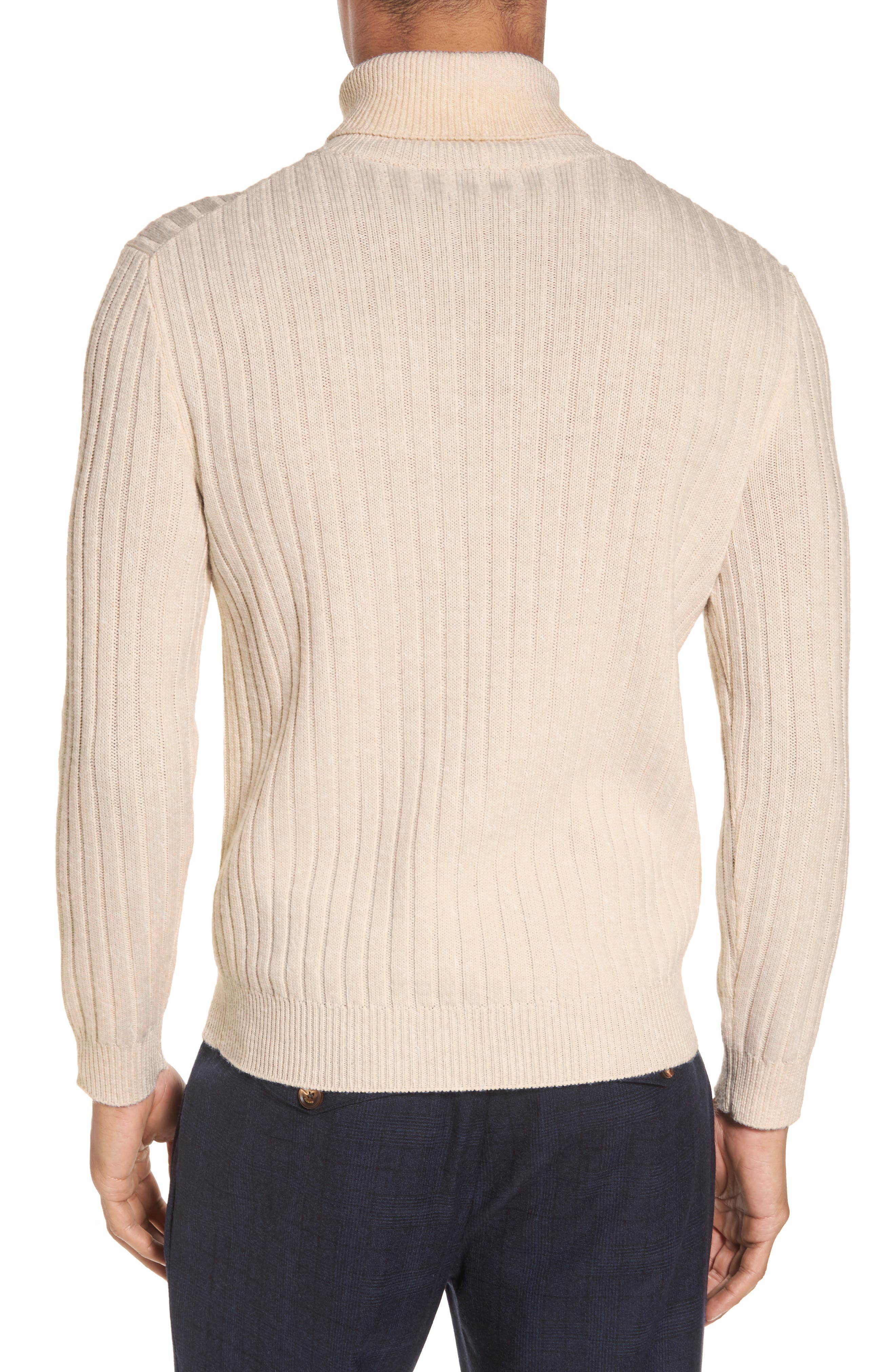 Ribbed Turtleneck Wool Sweater,                             Alternate thumbnail 3, color,                             Cream