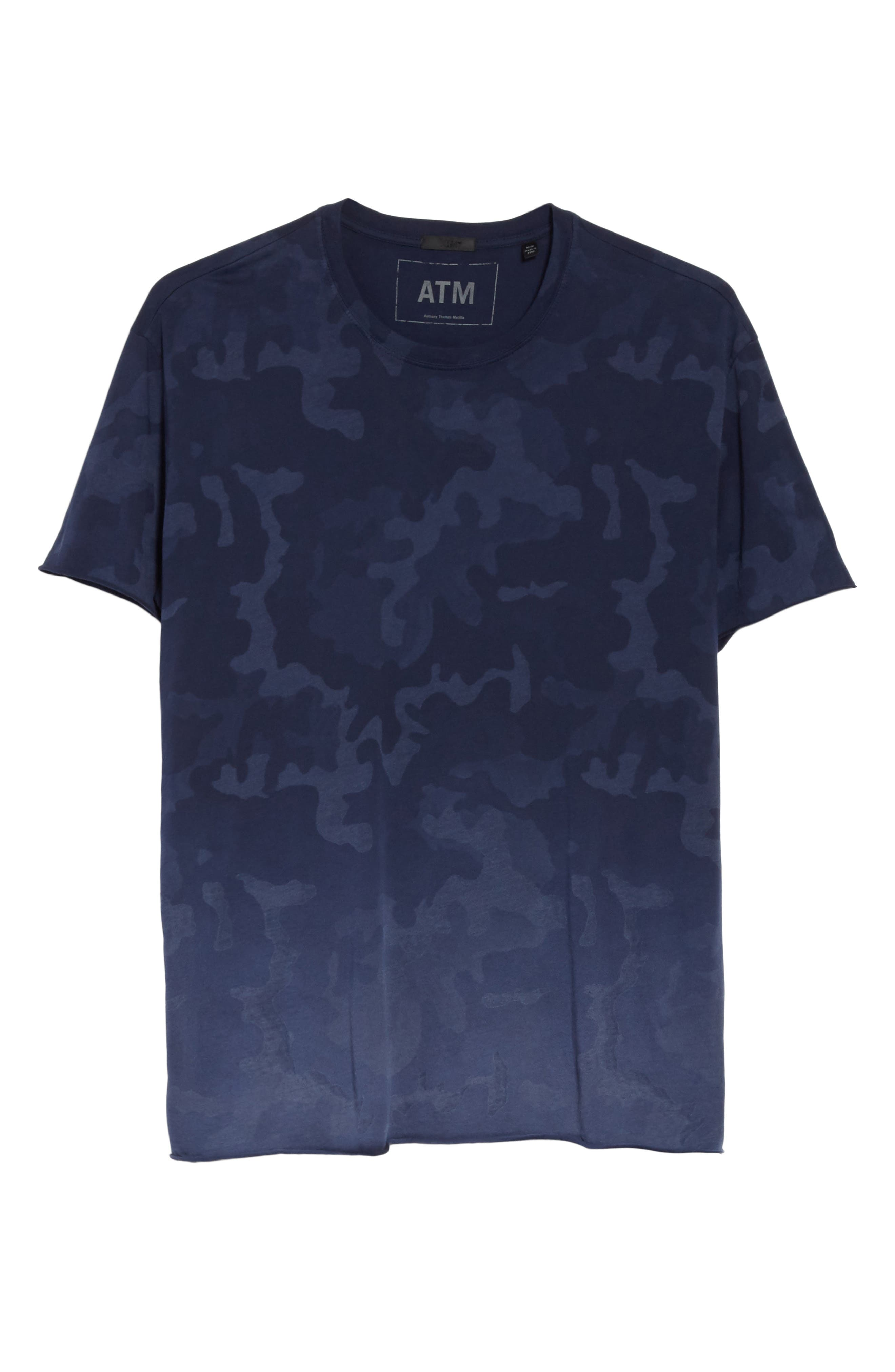 Camo Print Crewneck T-Shirt,                             Alternate thumbnail 6, color,                             Blue Camo
