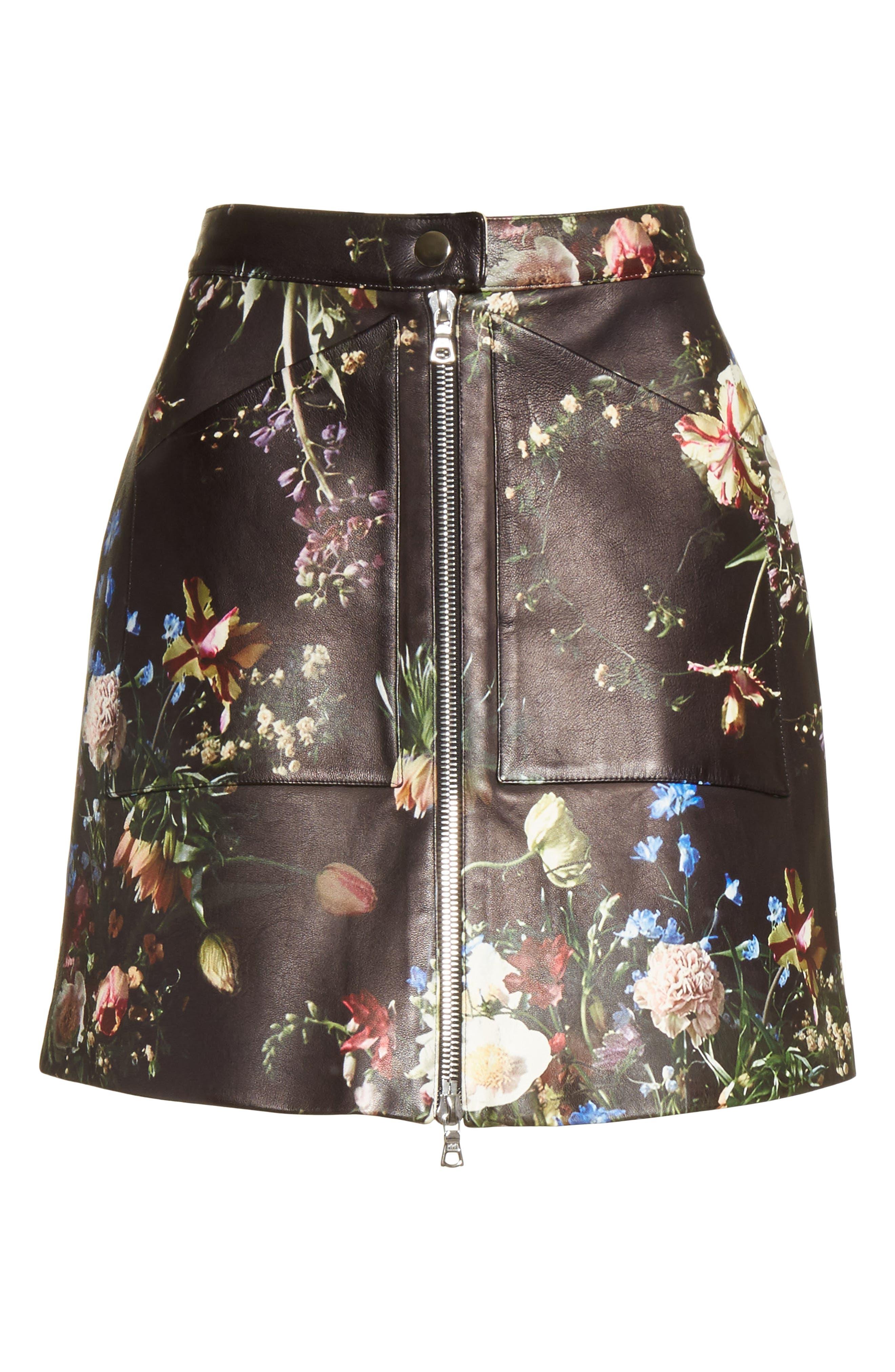 Floral Print Leather Miniskirt,                             Alternate thumbnail 7, color,                             Black