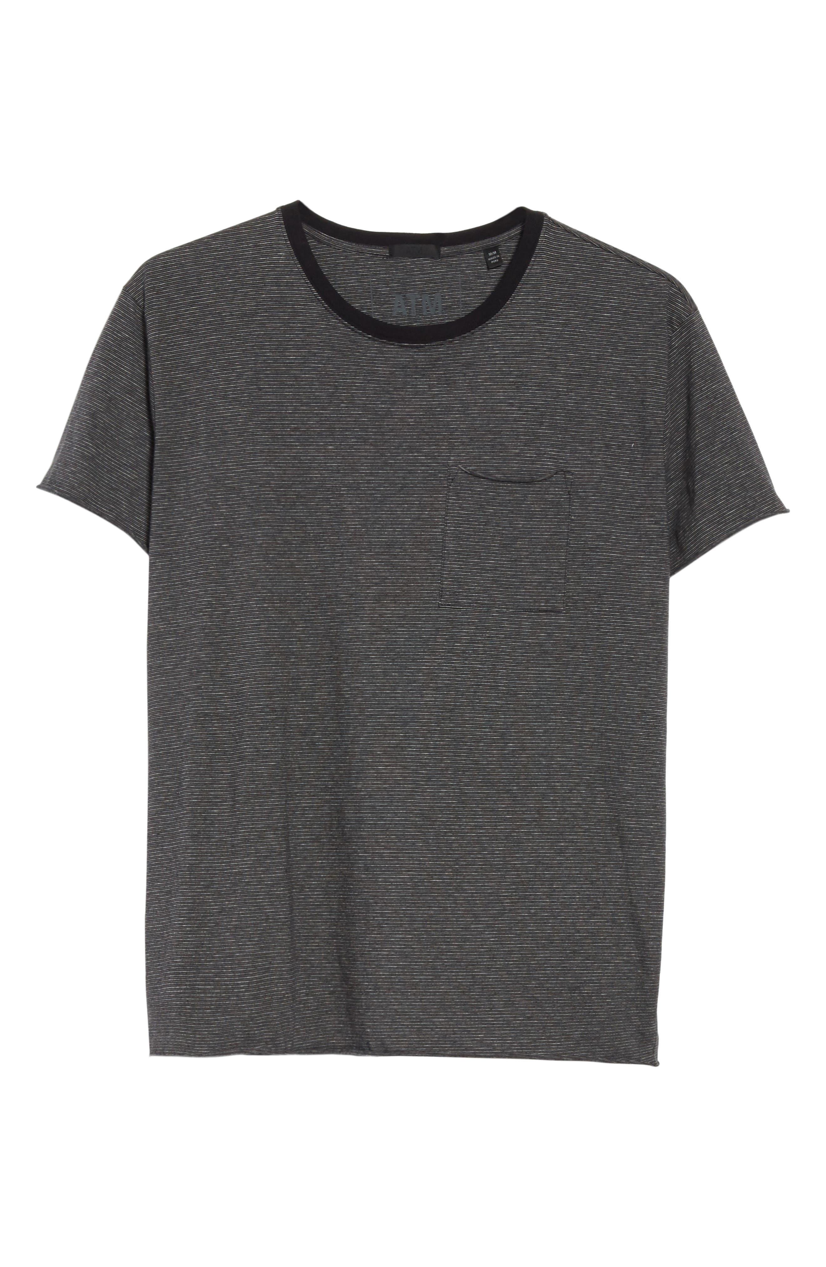 Oversize Stripe Pocket T-Shirt,                             Alternate thumbnail 6, color,                             Black