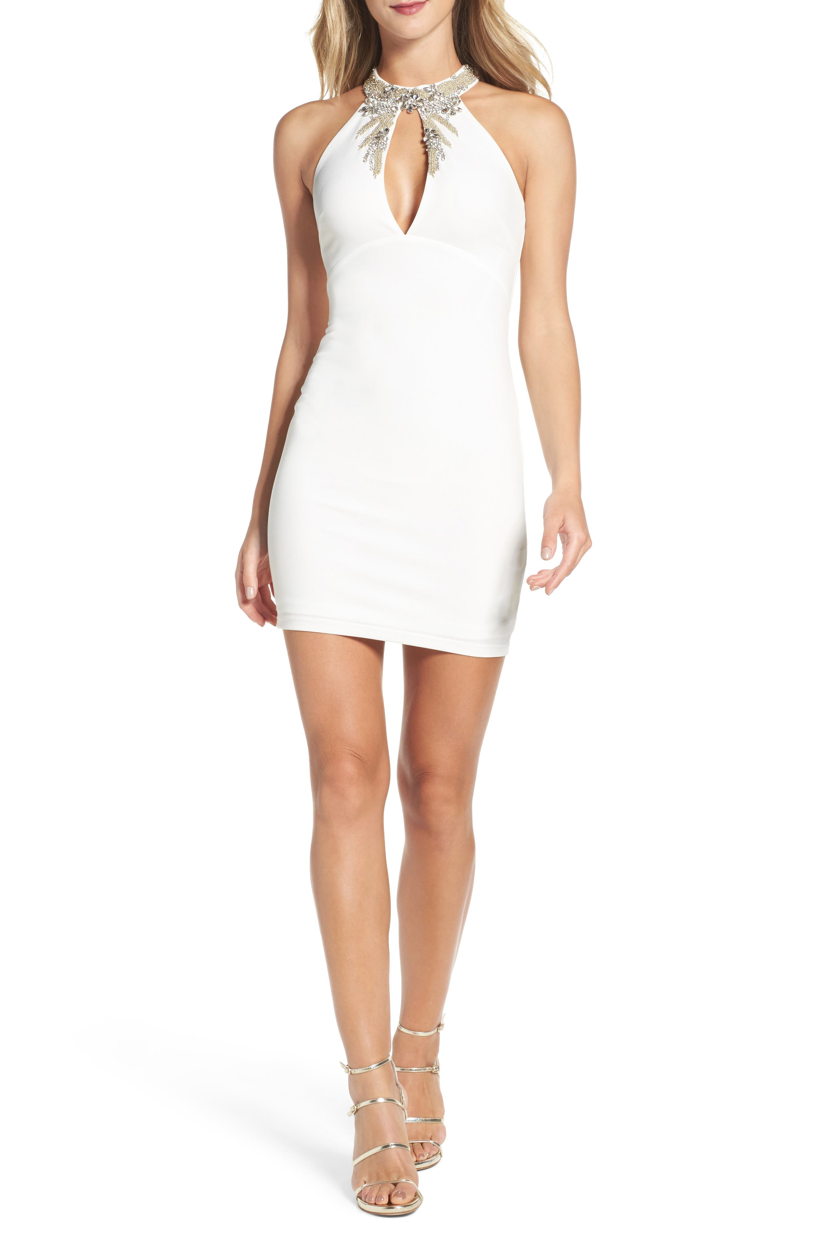 Alluring Evening Beaded Body-Con Dress,                         Main,                         color, White