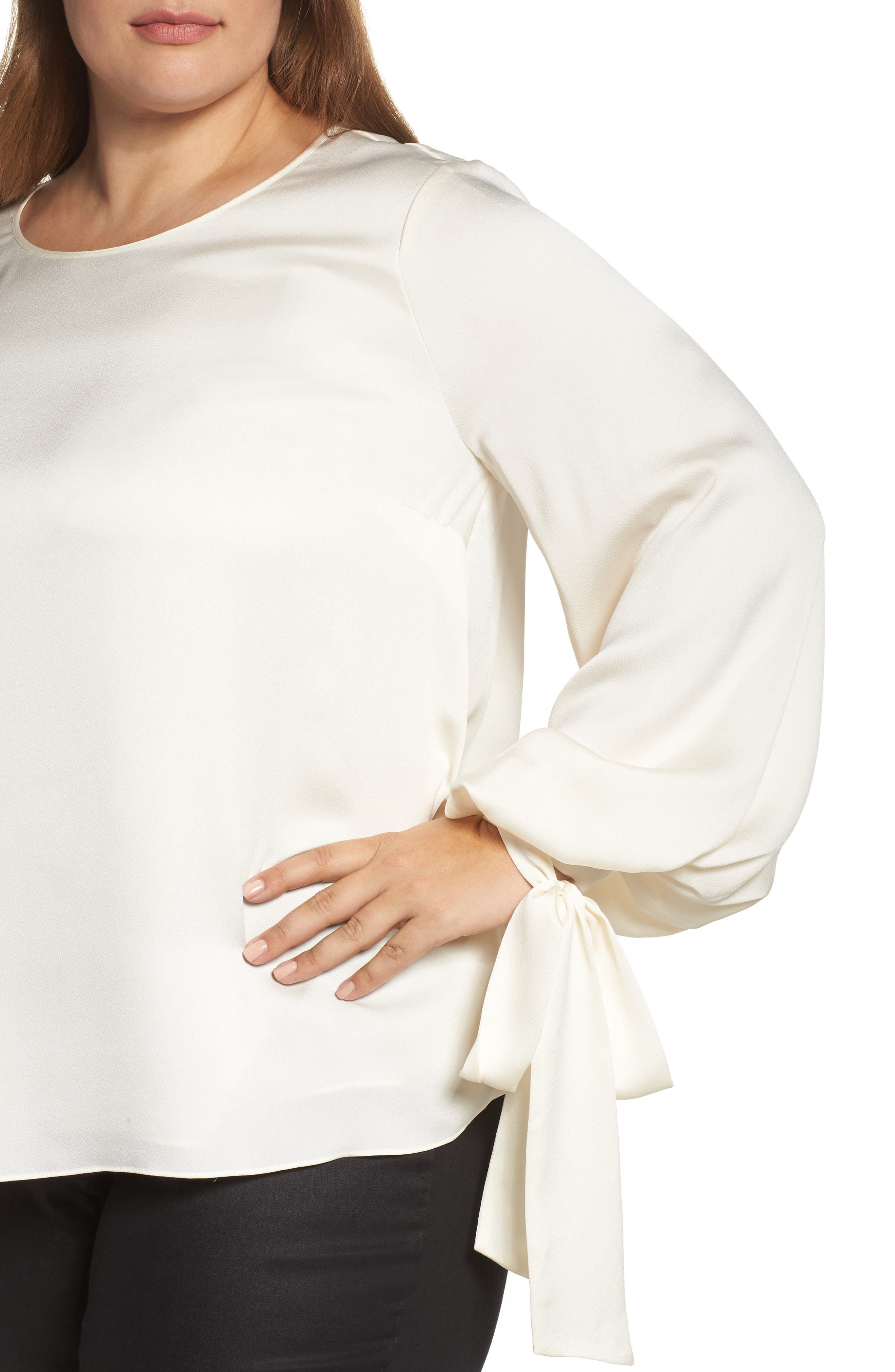 Tie Cuff Bubble Sleeve Blouse,                             Alternate thumbnail 4, color,                             Pearl Ivory