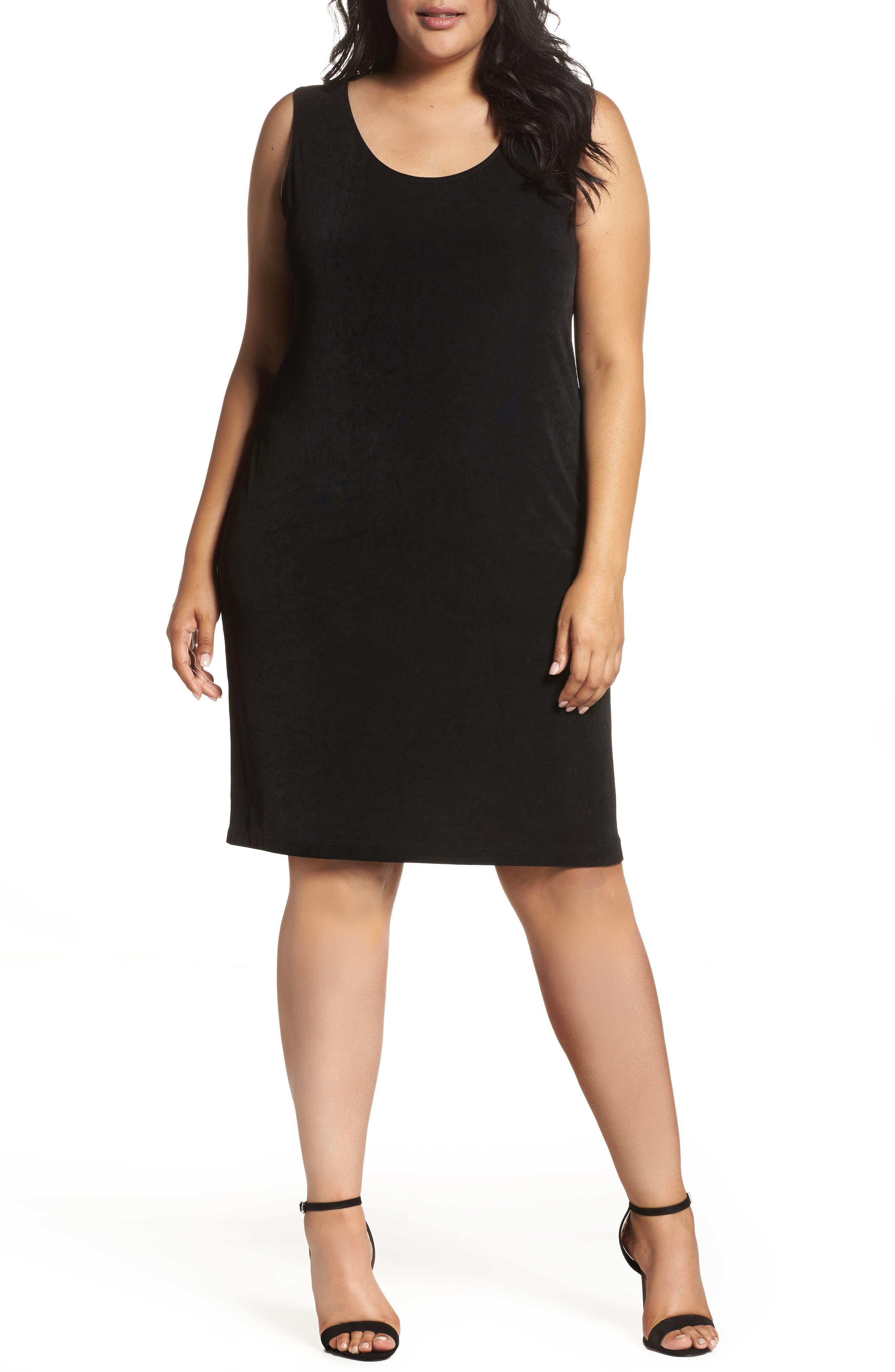 Sleeveless Shift Dress,                         Main,                         color, Black