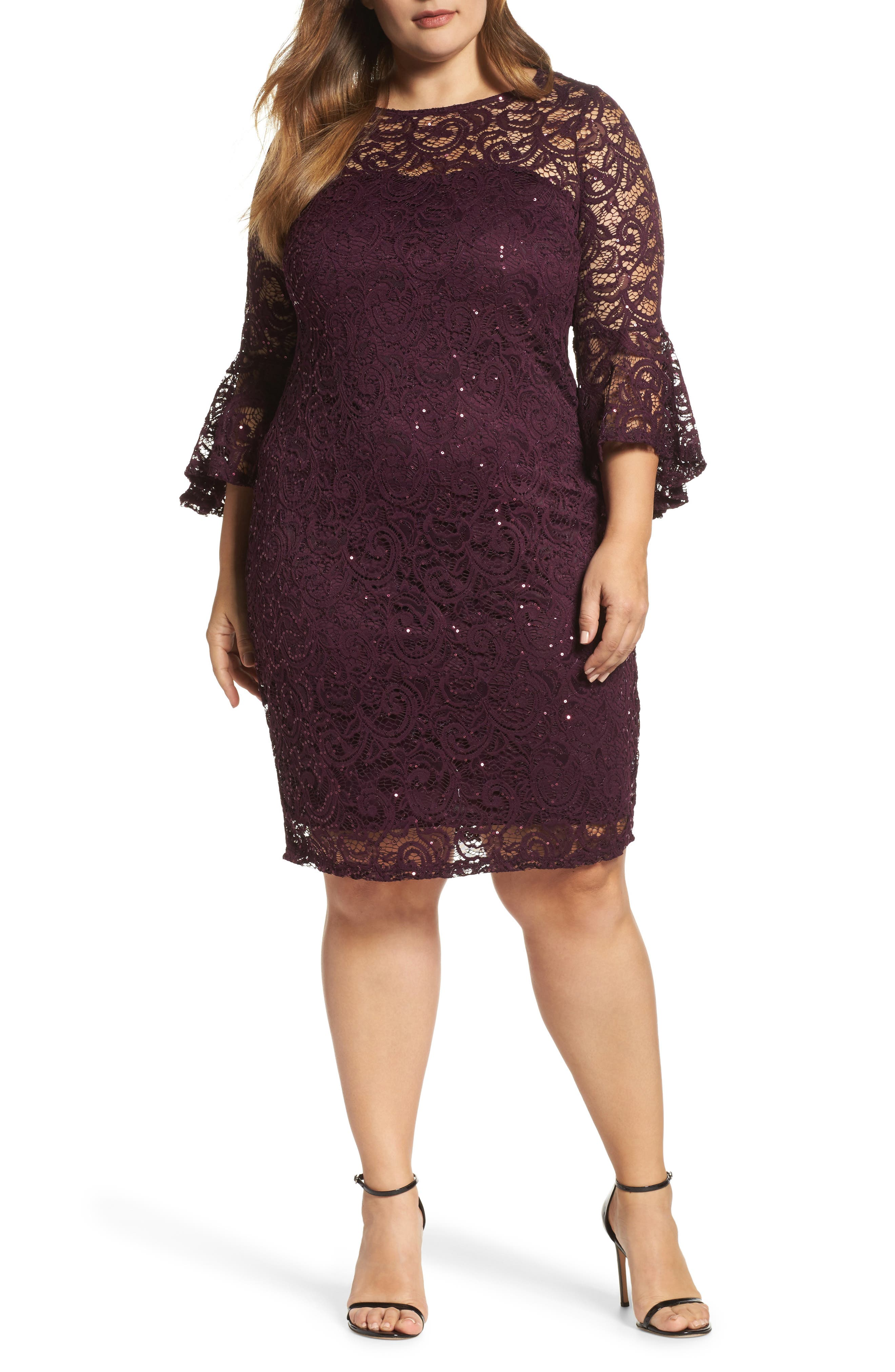 Main Image - Marina Sequin Lace Bell Sleeve Dress (Plus Size)