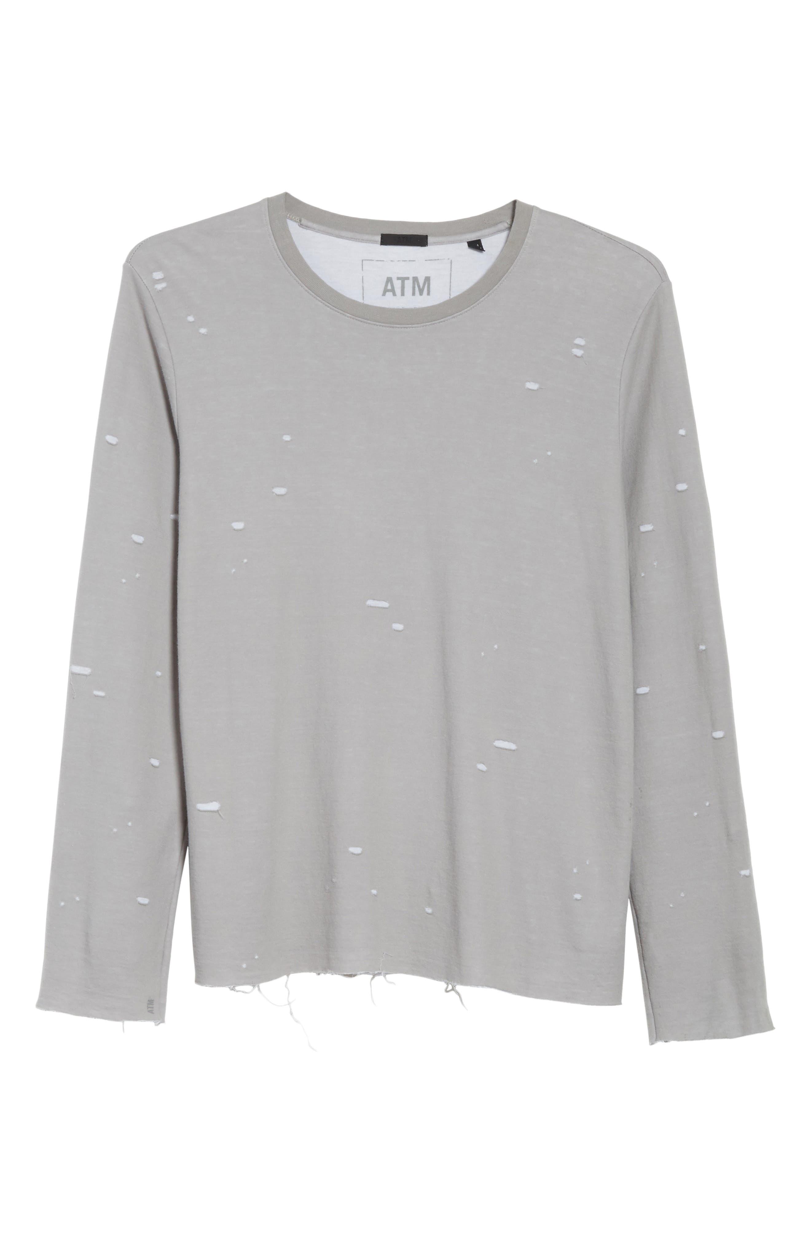 Long Sleeve T-Shirt,                             Alternate thumbnail 6, color,                             Grey
