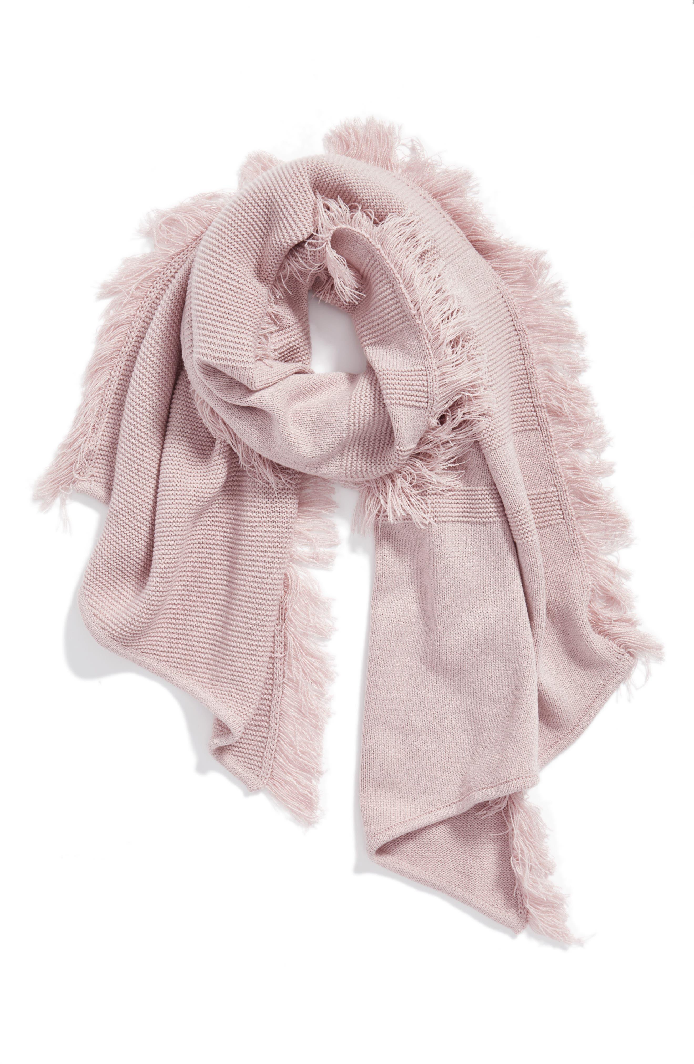 Garter Stripe Stitch Blanket Scarf,                             Main thumbnail 1, color,                             Pale Pink