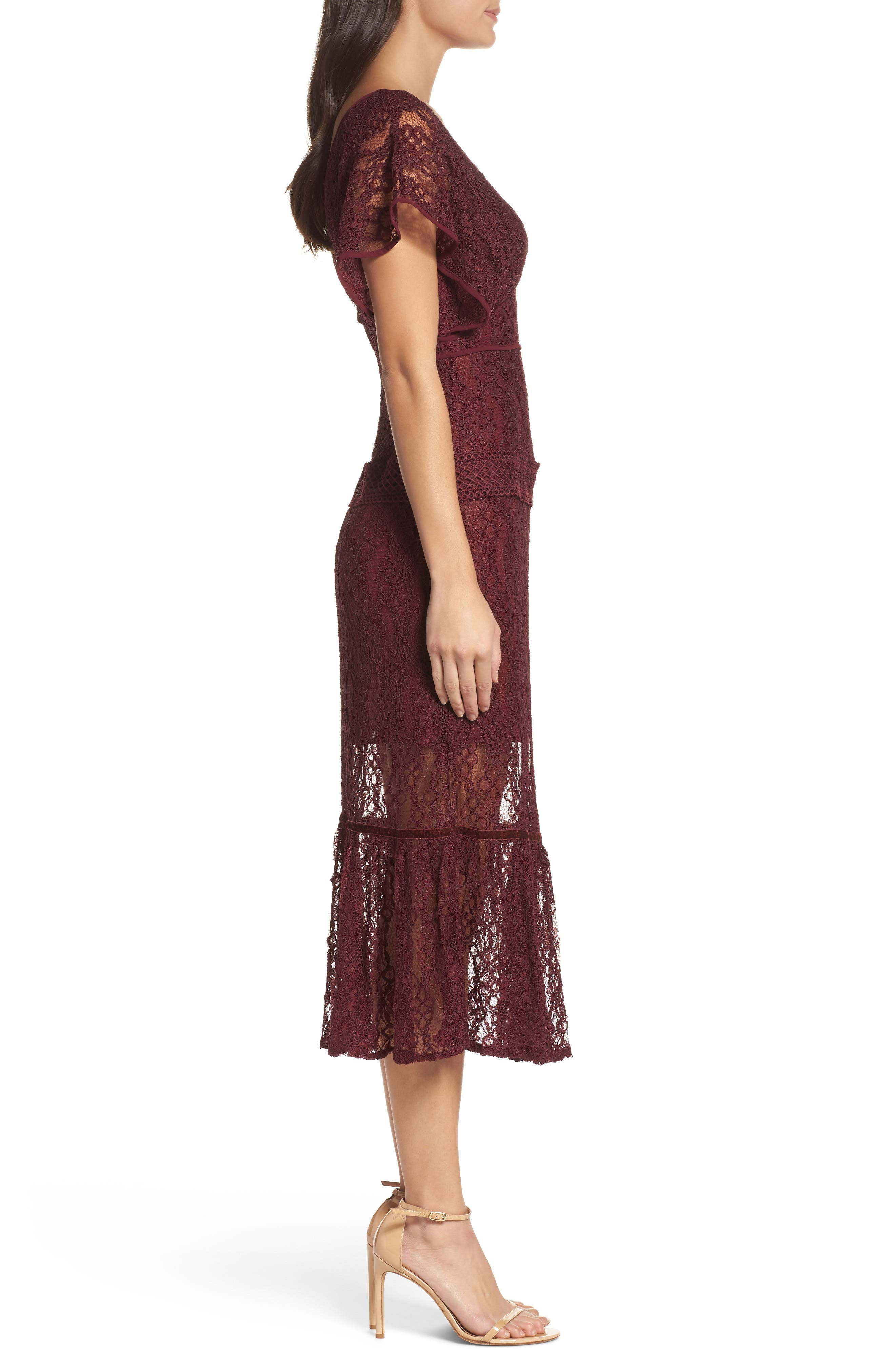 Cecila Lace Midi Dress,                             Alternate thumbnail 3, color,                             Burgundy
