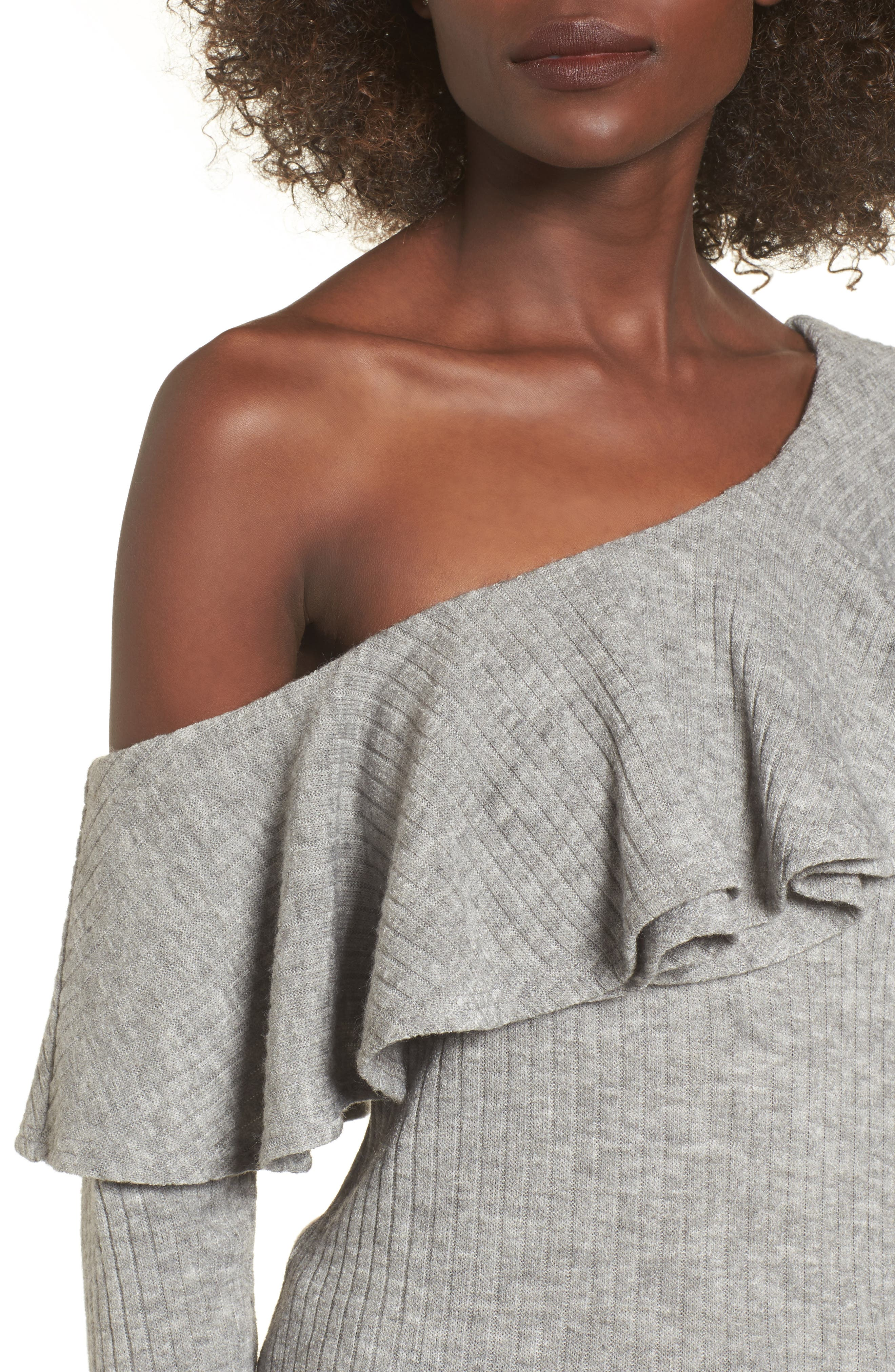 Alternate Image 4  - STOREE Ruffle One-Shoulder Sweater