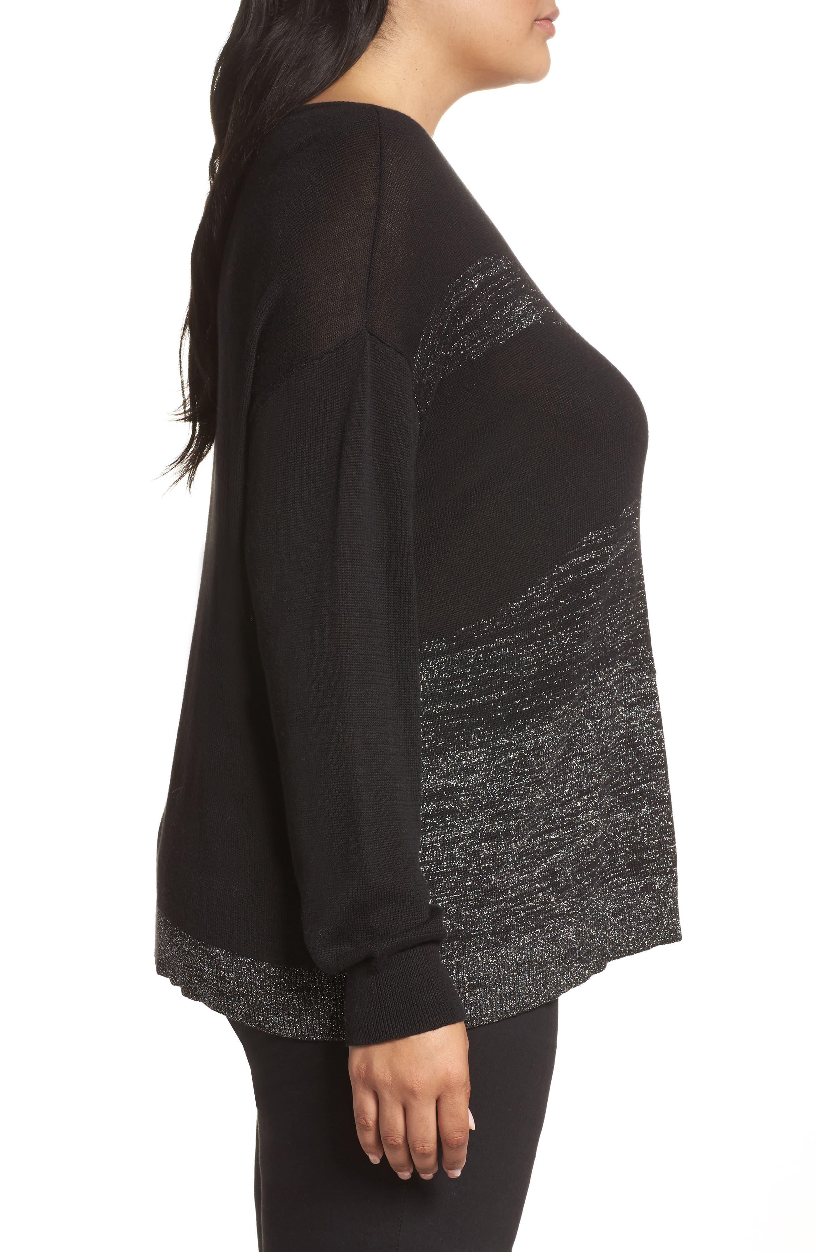 Alternate Image 3  - Sejour Metallic Scoop Neck Sweater (Plus Size)