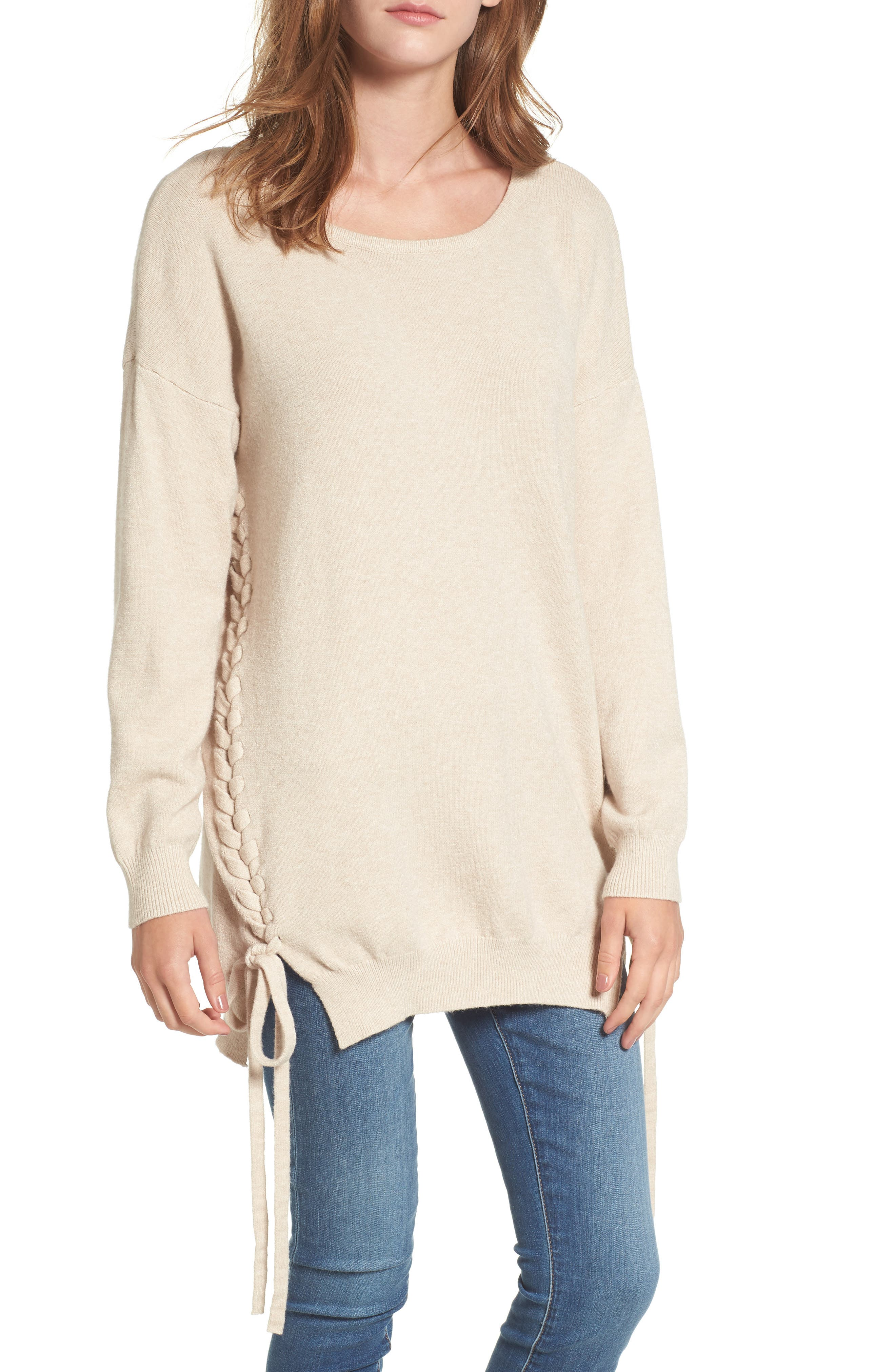 Dreamers by Debut Lace-Up Tunic Sweater