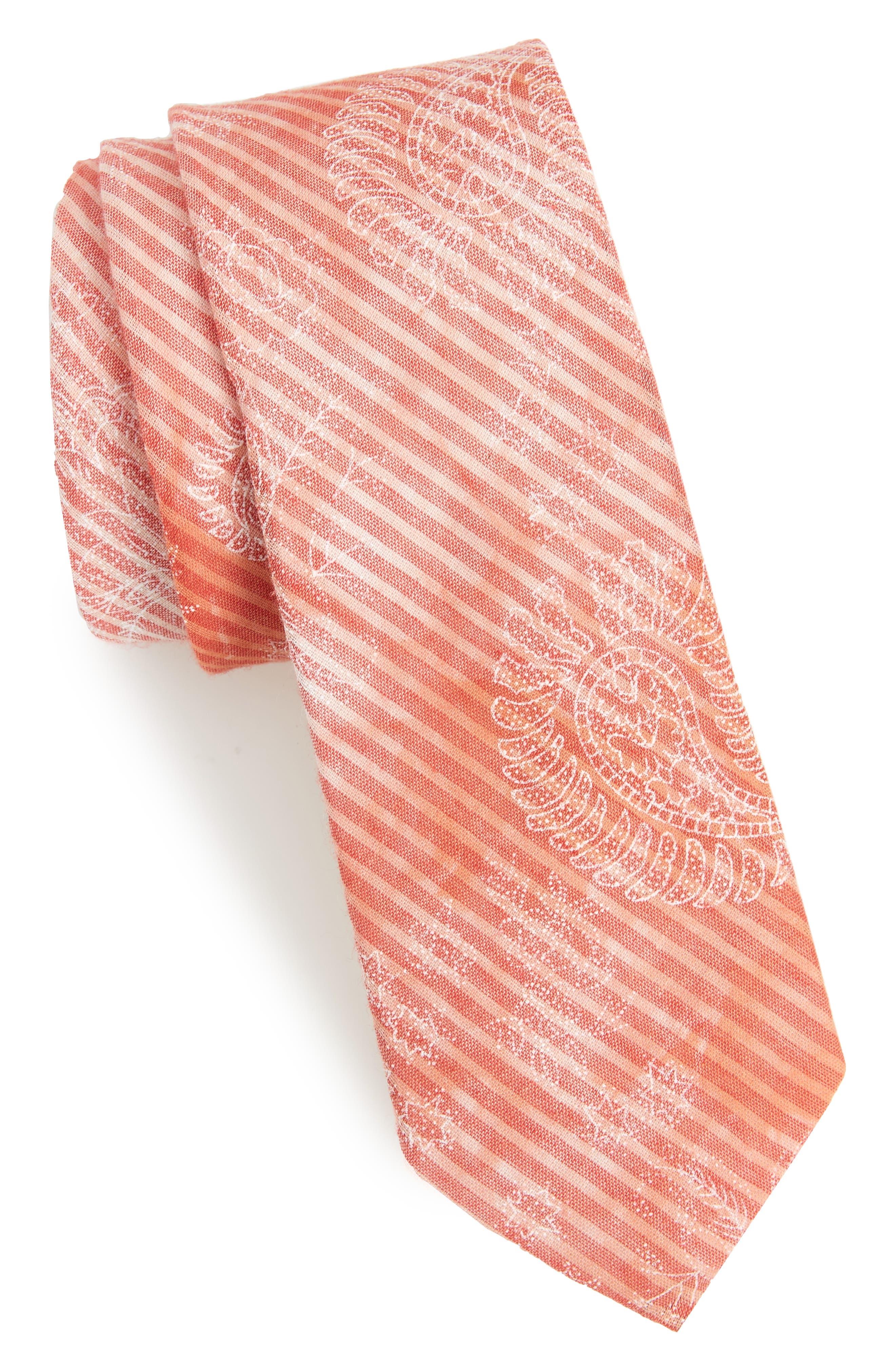 Lee Paisley Cotton Tie,                             Main thumbnail 1, color,                             Pink