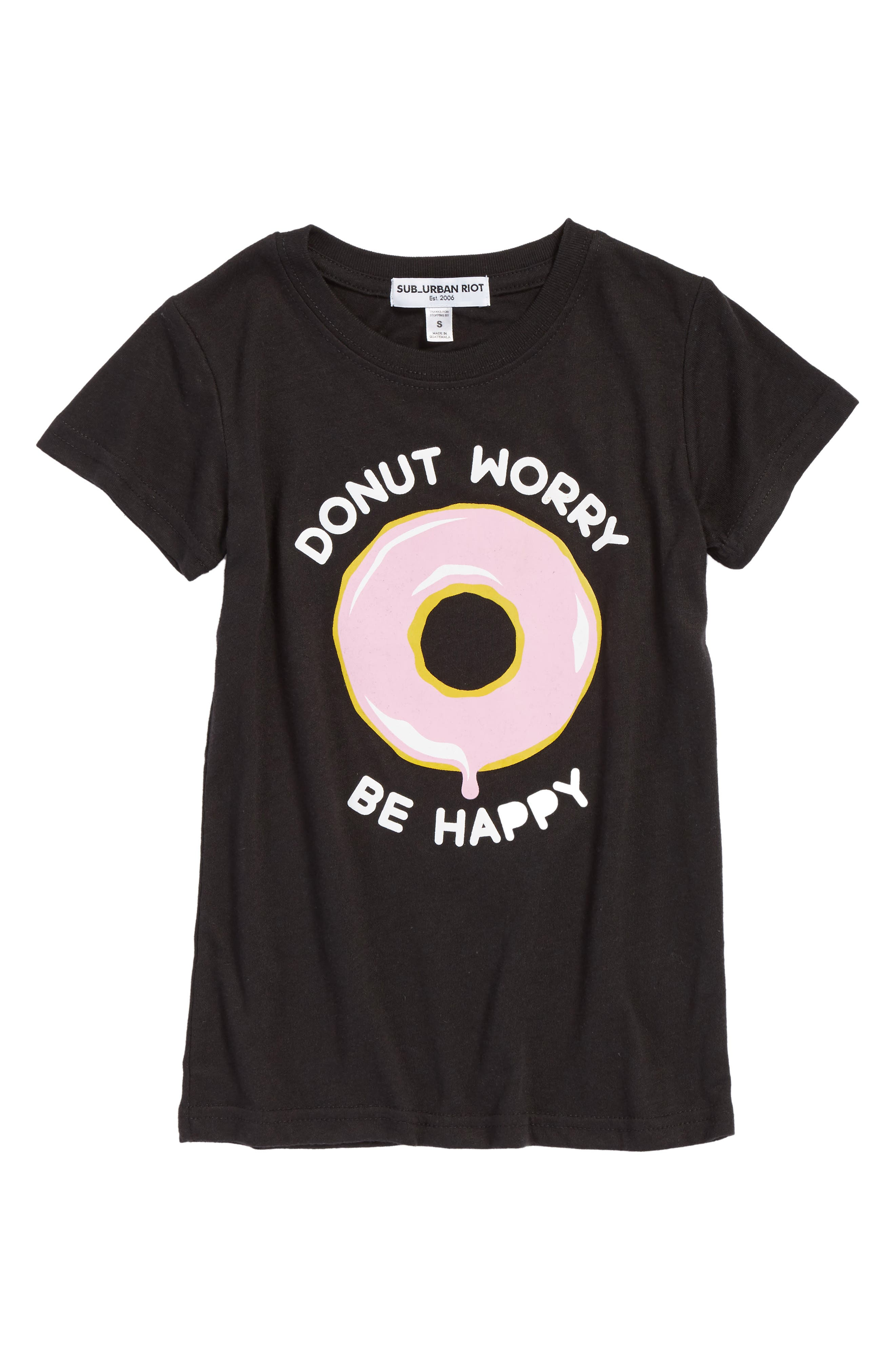 Donut Worry Graphic Tee,                         Main,                         color, Black