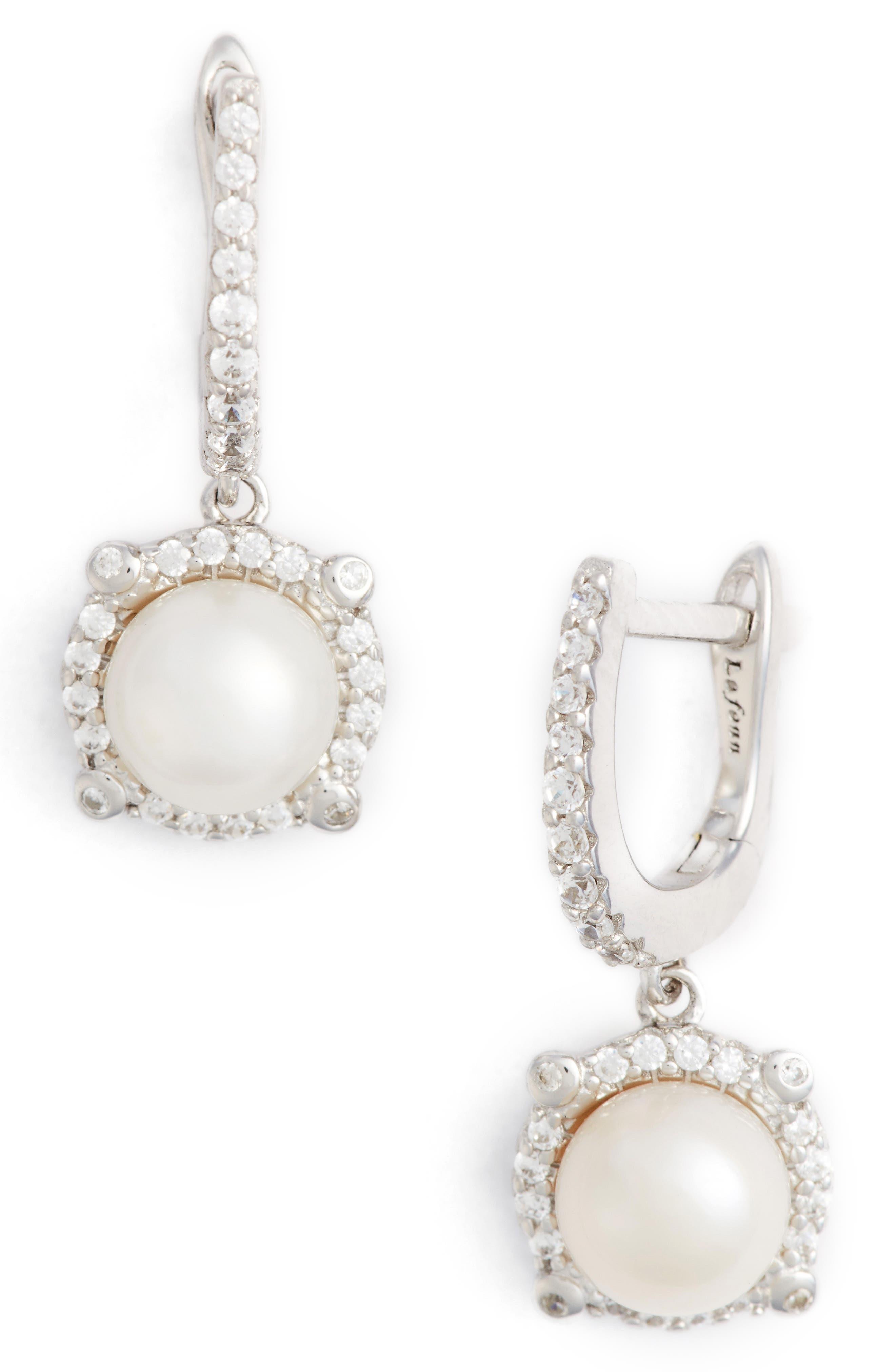Simulated Diamond & Pearl Drop Earrings,                             Main thumbnail 1, color,                             Silver/ Pearl/ Clear
