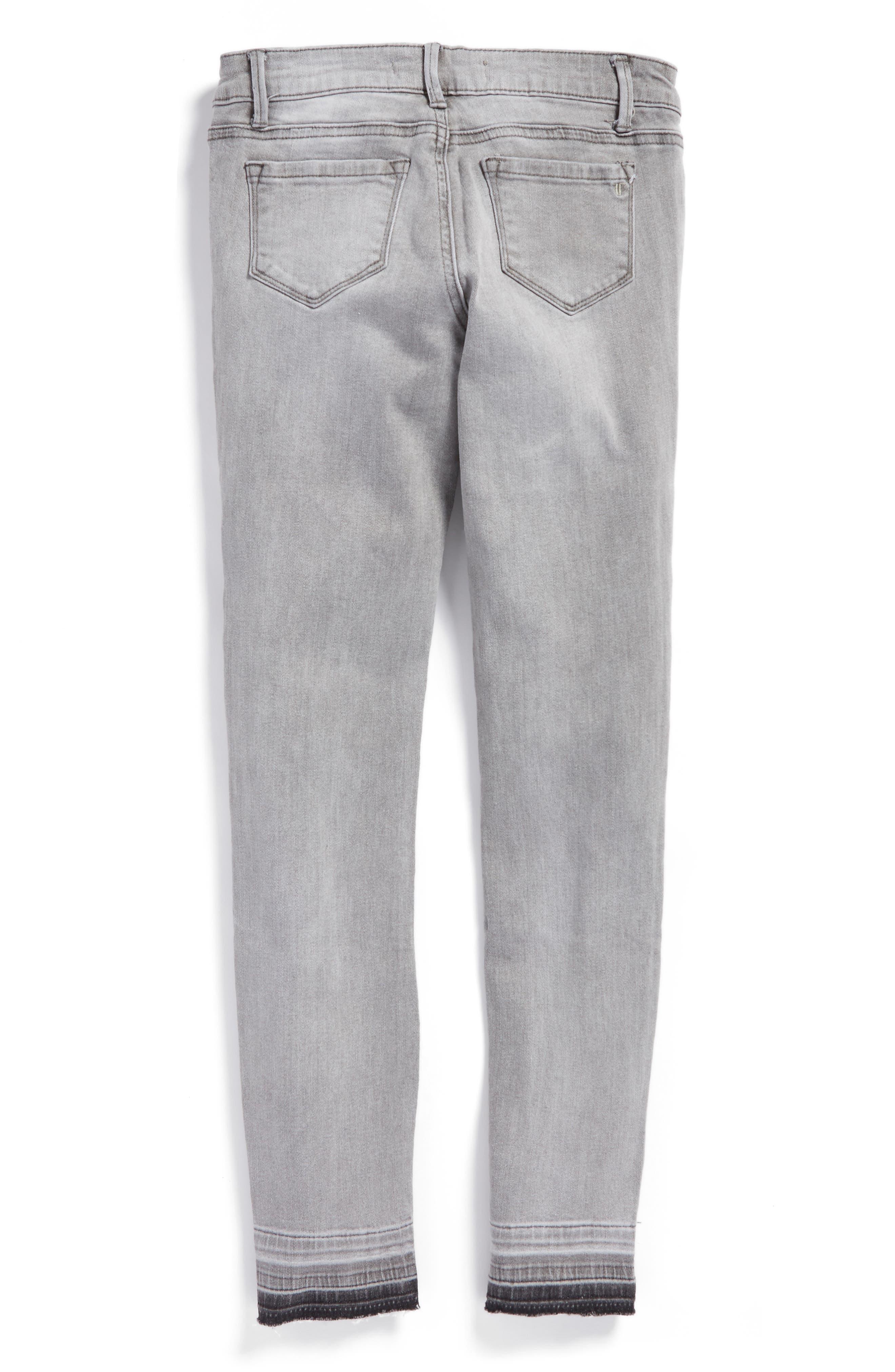 Alternate Image 2  - Tractr Release Hem Skinny Jeans (Big Girls)