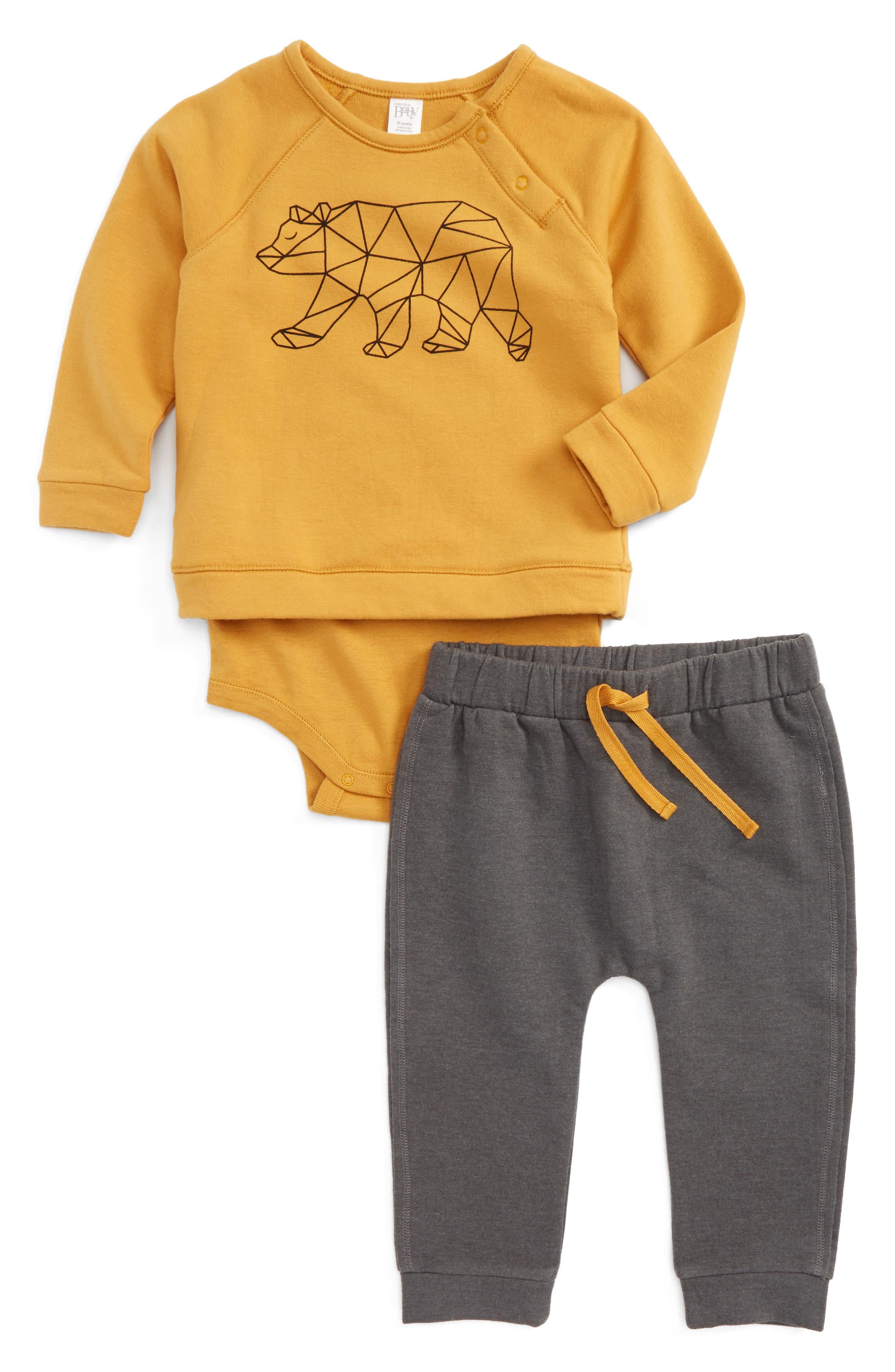 Graphic Print Bodysuit & Jogger Pants,                         Main,                         color, Yellow Spruce Bear