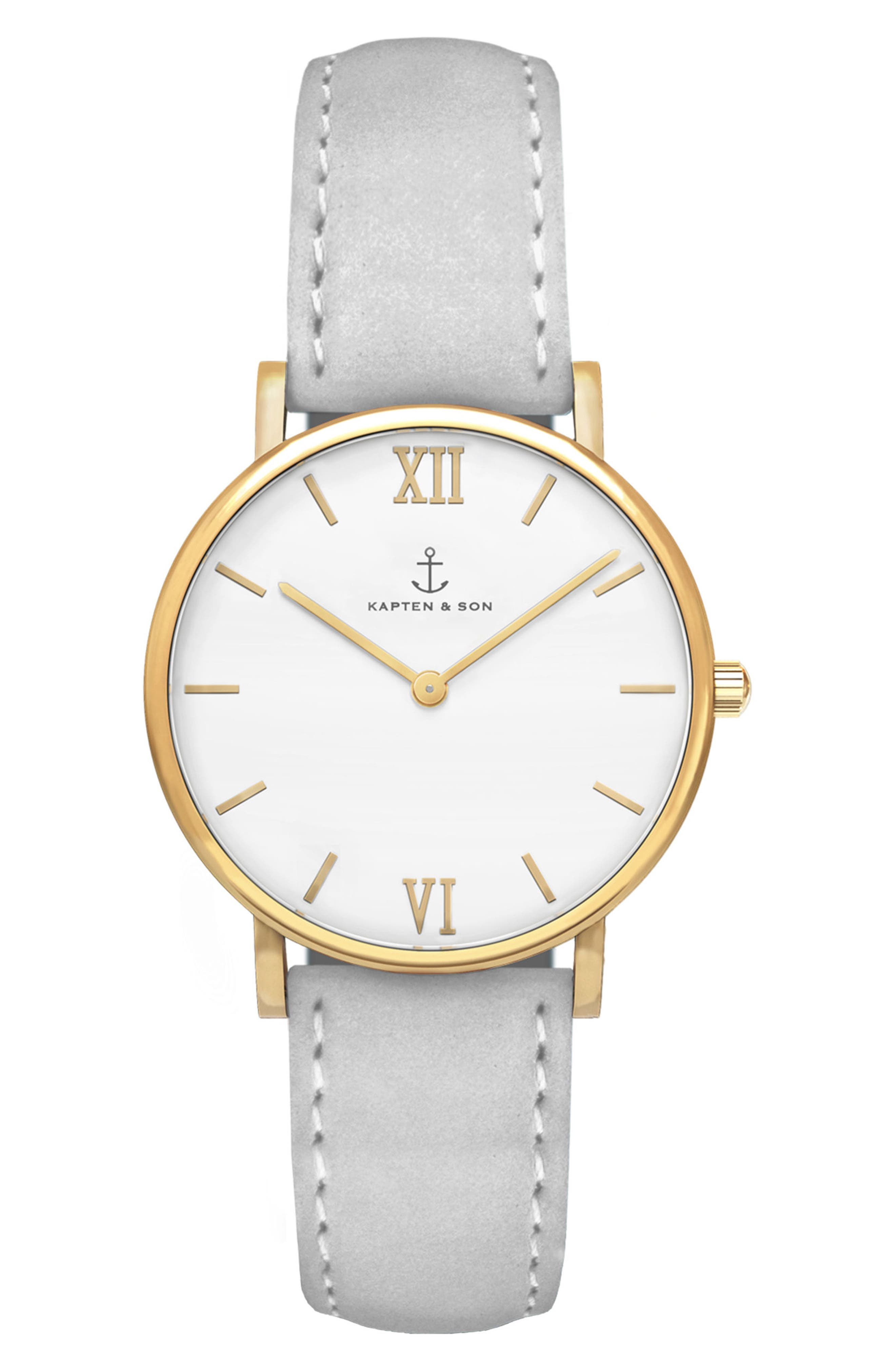 Joy Leather Strap Watch, 32mm,                         Main,                         color, Grey/ White/ Gold