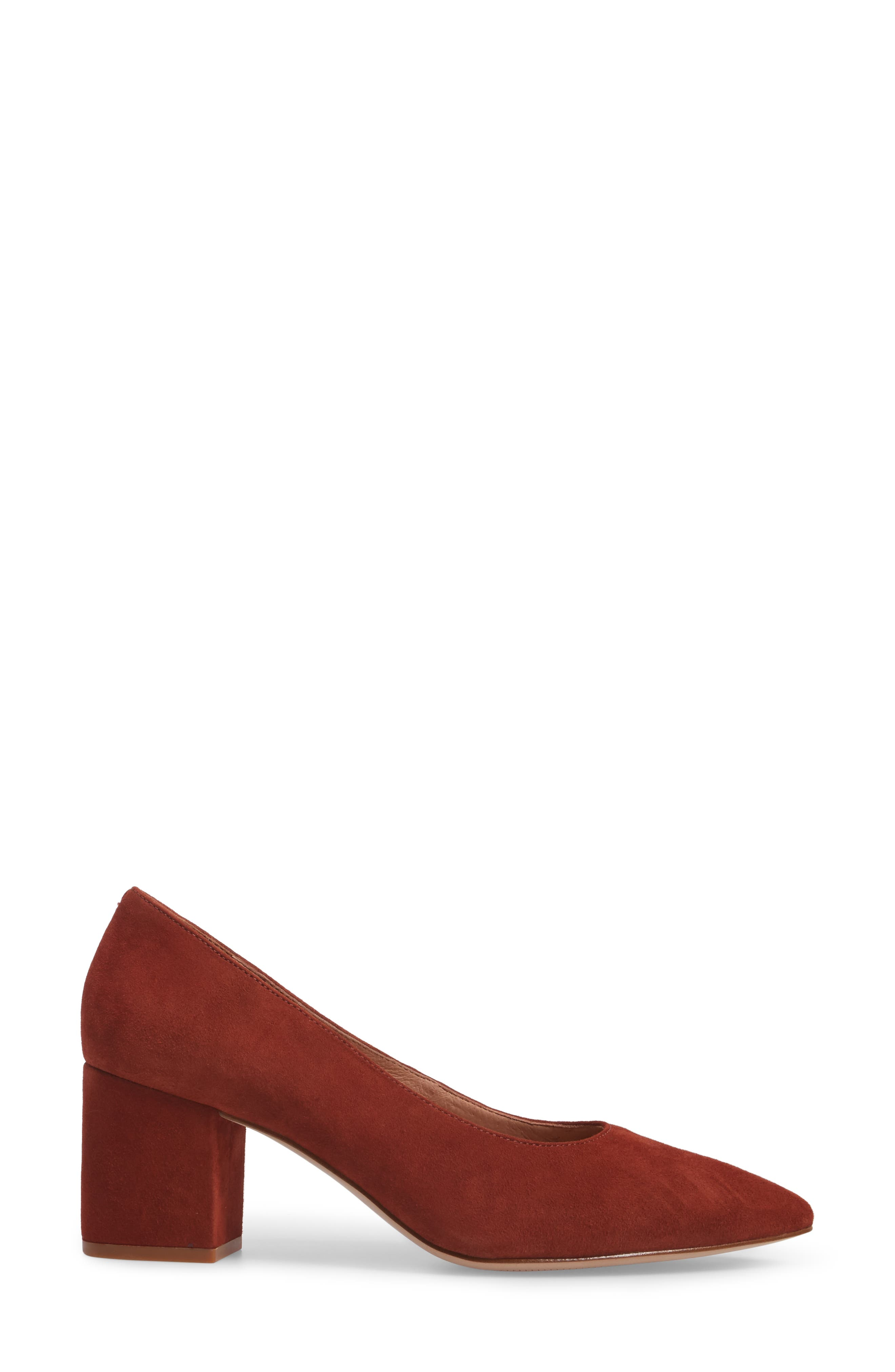 Rivka Pointy Toe Pump,                             Alternate thumbnail 3, color,                             Vintage Redwood Suede