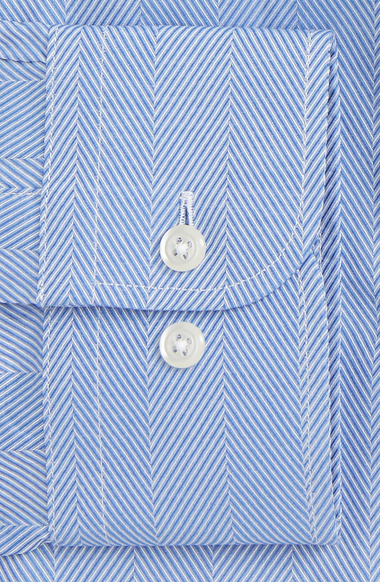 Trim Fit Herringbone Dress Shirt,                             Alternate thumbnail 5, color,                             Blue Provence
