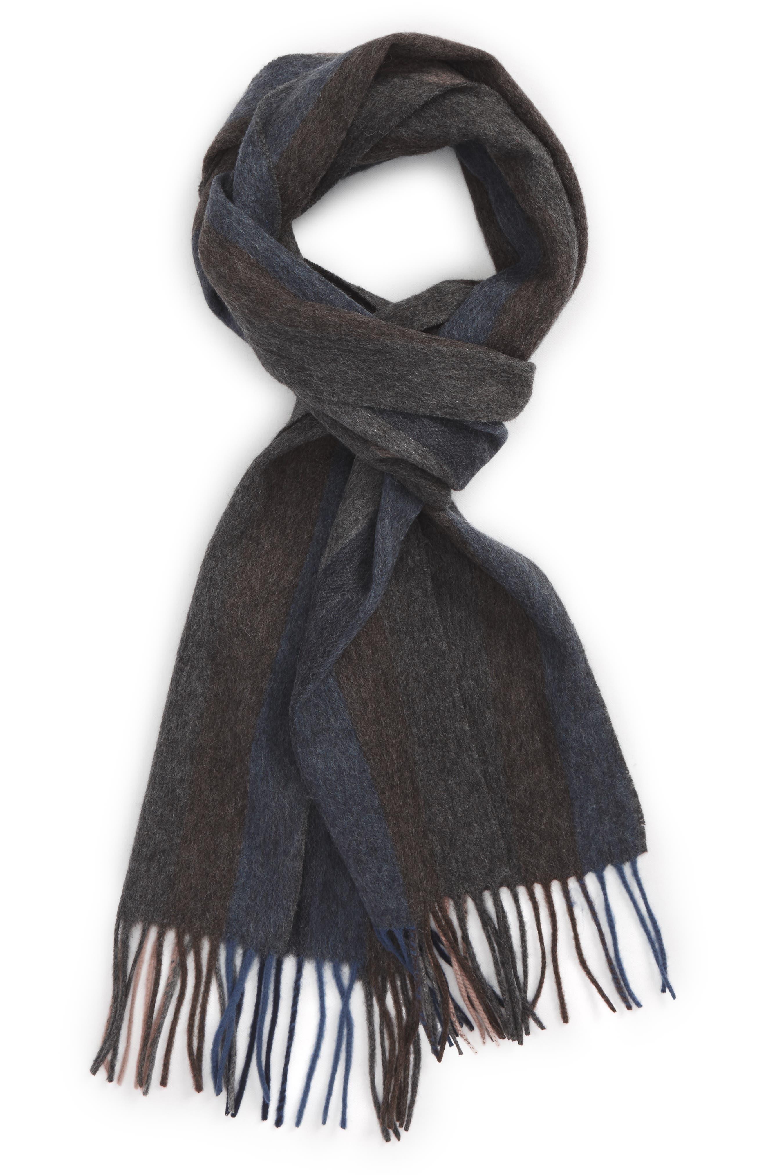Lambswool Stripe Scarf,                         Main,                         color, Brown - Navy Vertical Stripe
