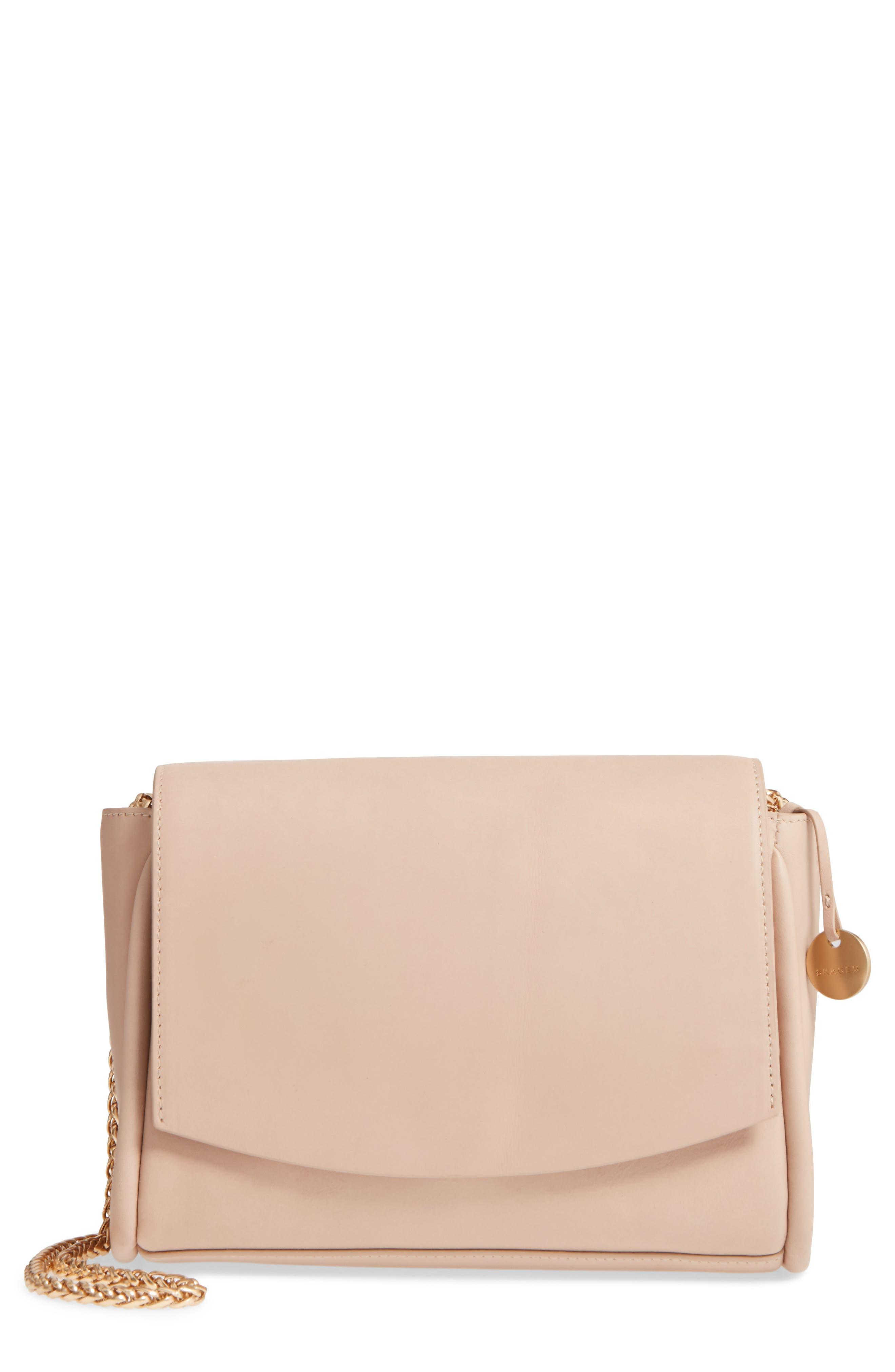 Sylvi Calfskin Leather Crossbody Bag,                             Main thumbnail 1, color,                             Beige