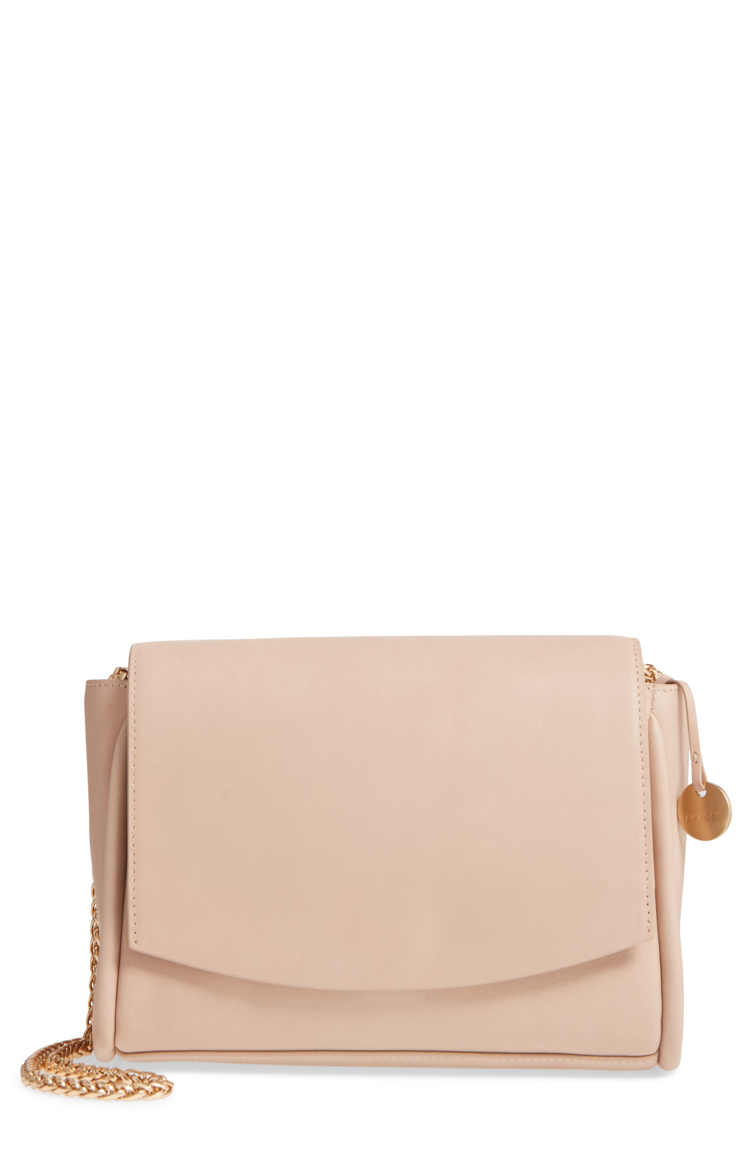 Sylvi Calfskin Leather Crossbody Bag,                         Main,                         color, Beige