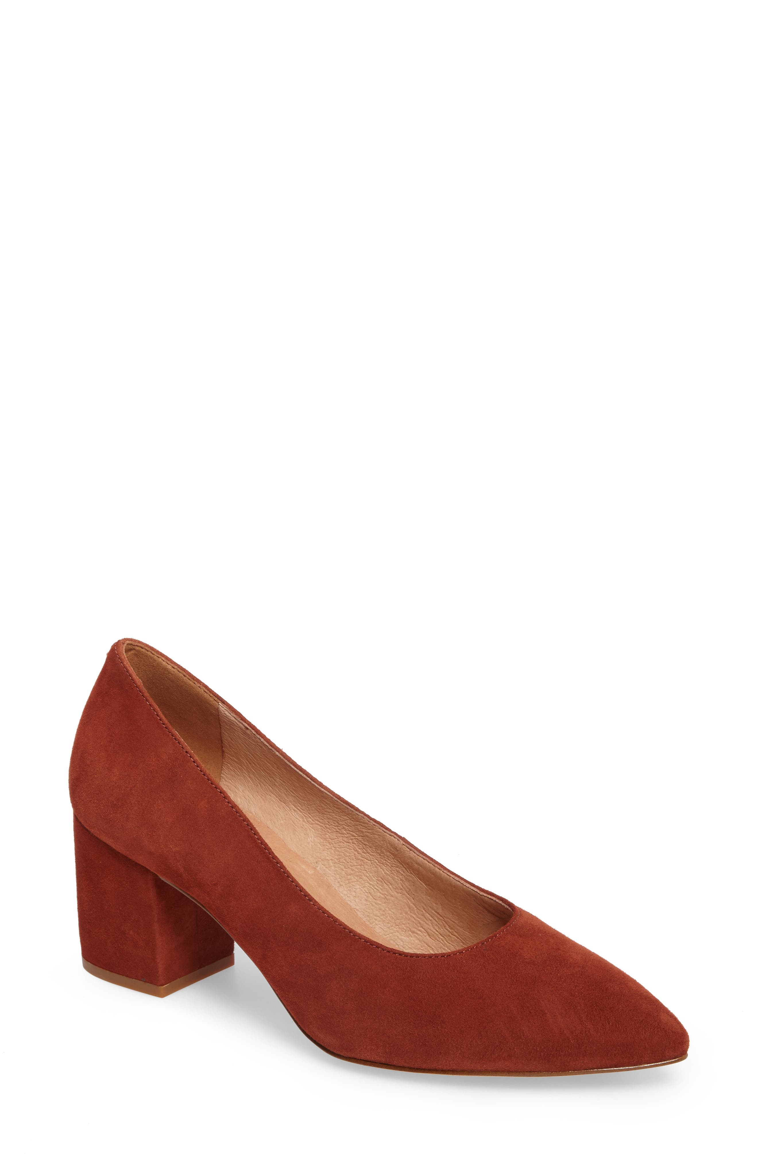 Rivka Pointy Toe Pump,                             Main thumbnail 1, color,                             Vintage Redwood Suede