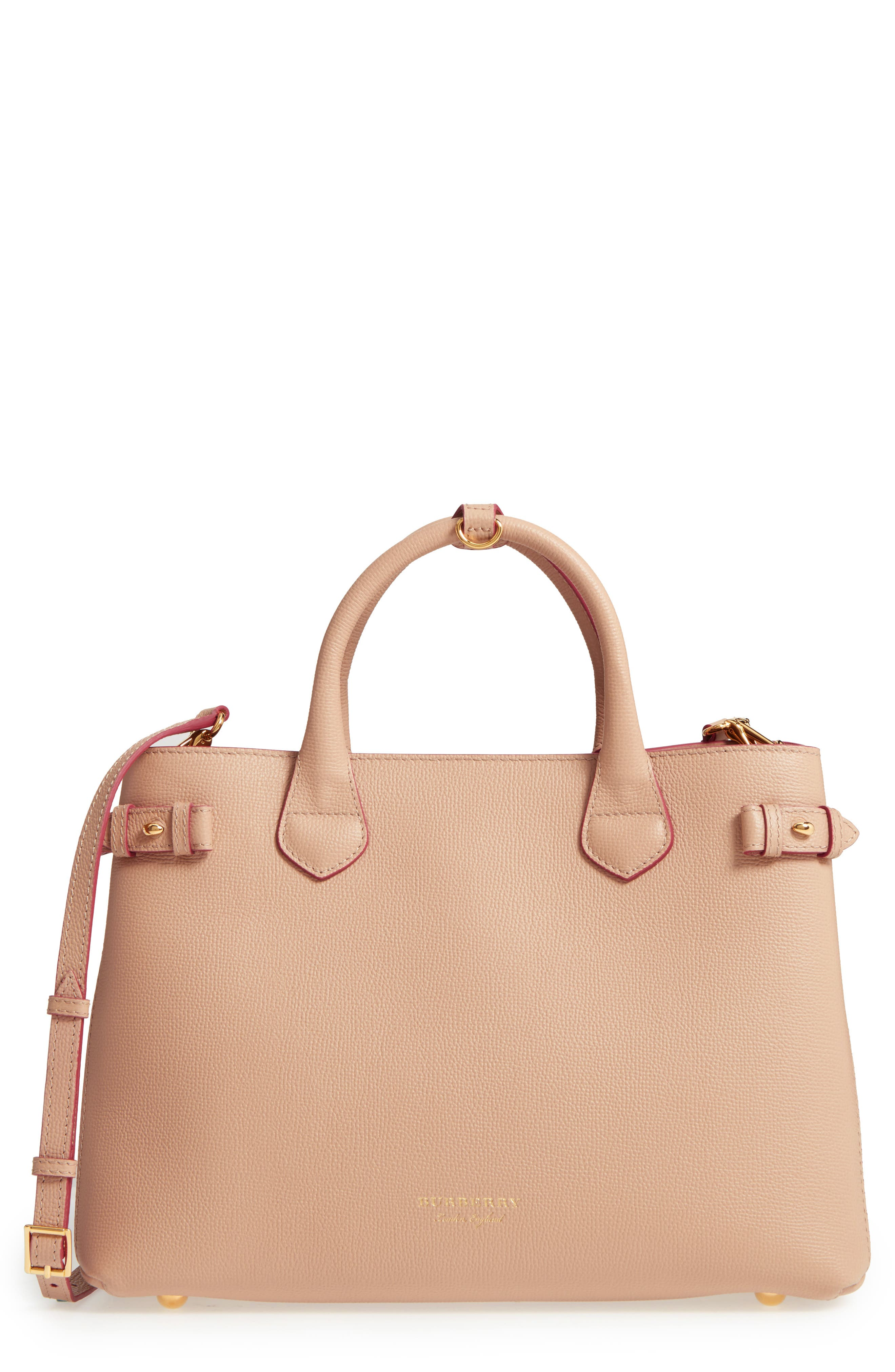 Alternate Image 1 Selected - Burberry Medium Banner Check Leather Tote