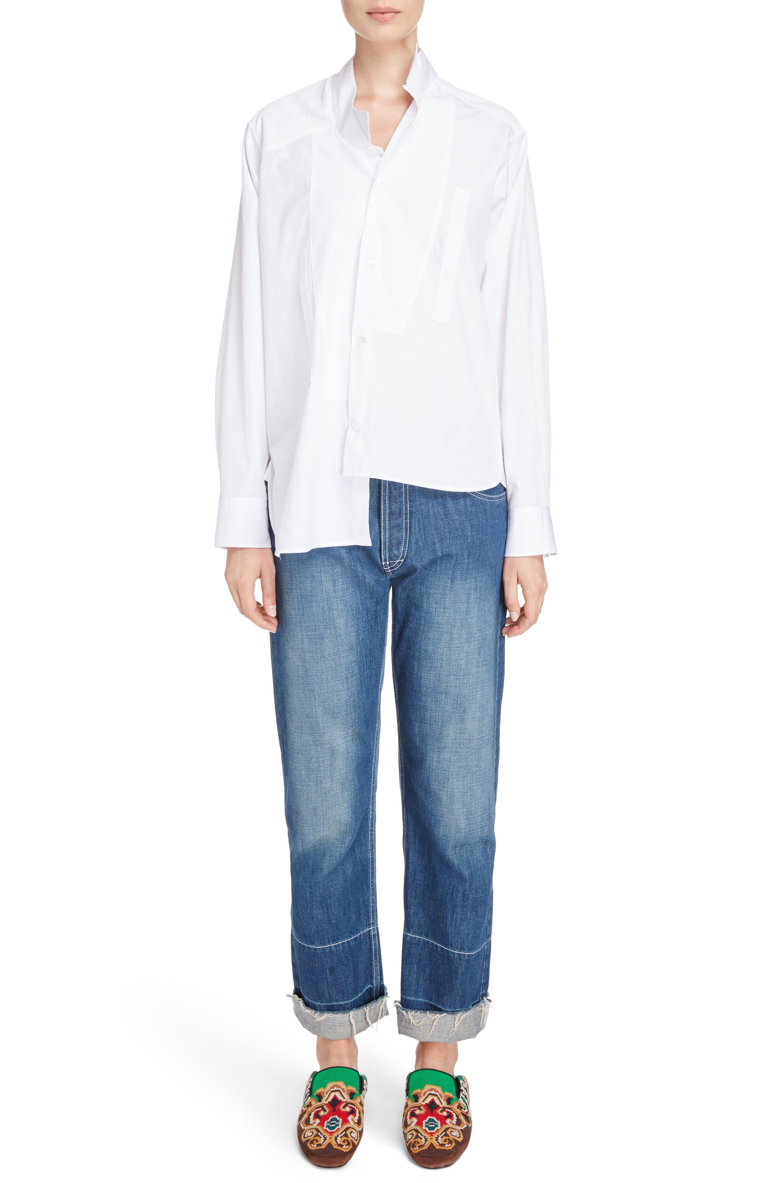 Cotton Poplin Patchwork Shirt,                             Alternate thumbnail 6, color,                             White