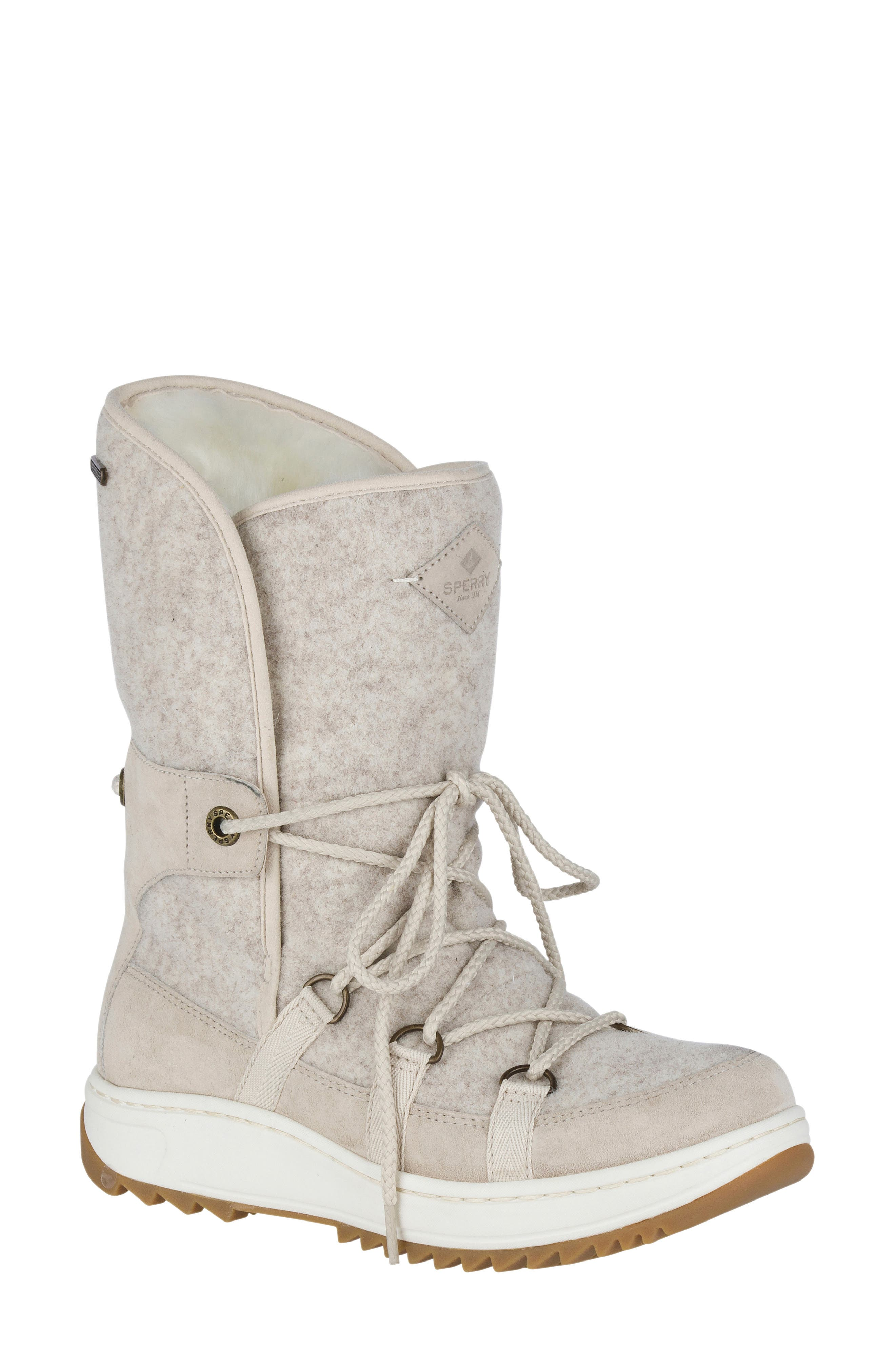 Powder Ice Cap Thinsulate Insulated Water Resistant Boot,                             Main thumbnail 1, color,                             Ivory Suede