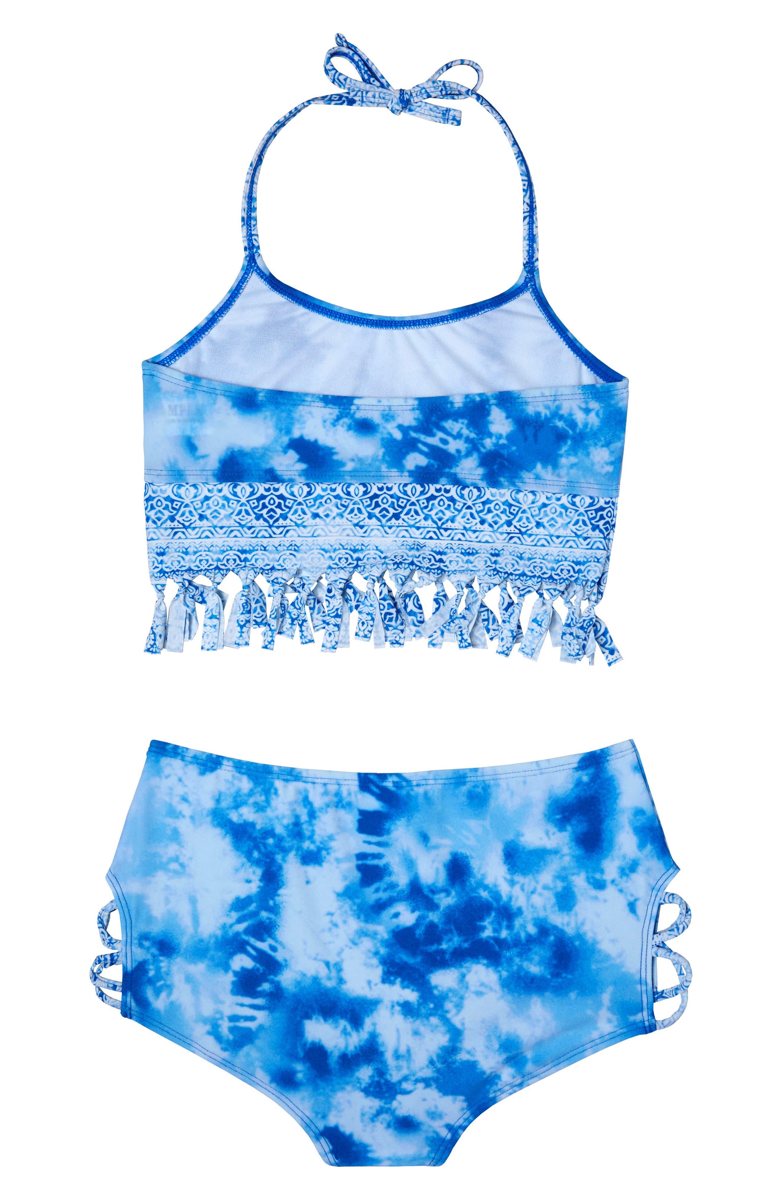 Alternate Image 2  - Gossip Girl Jeans Addiction Two-Piece Swimsuit (Big Girls)
