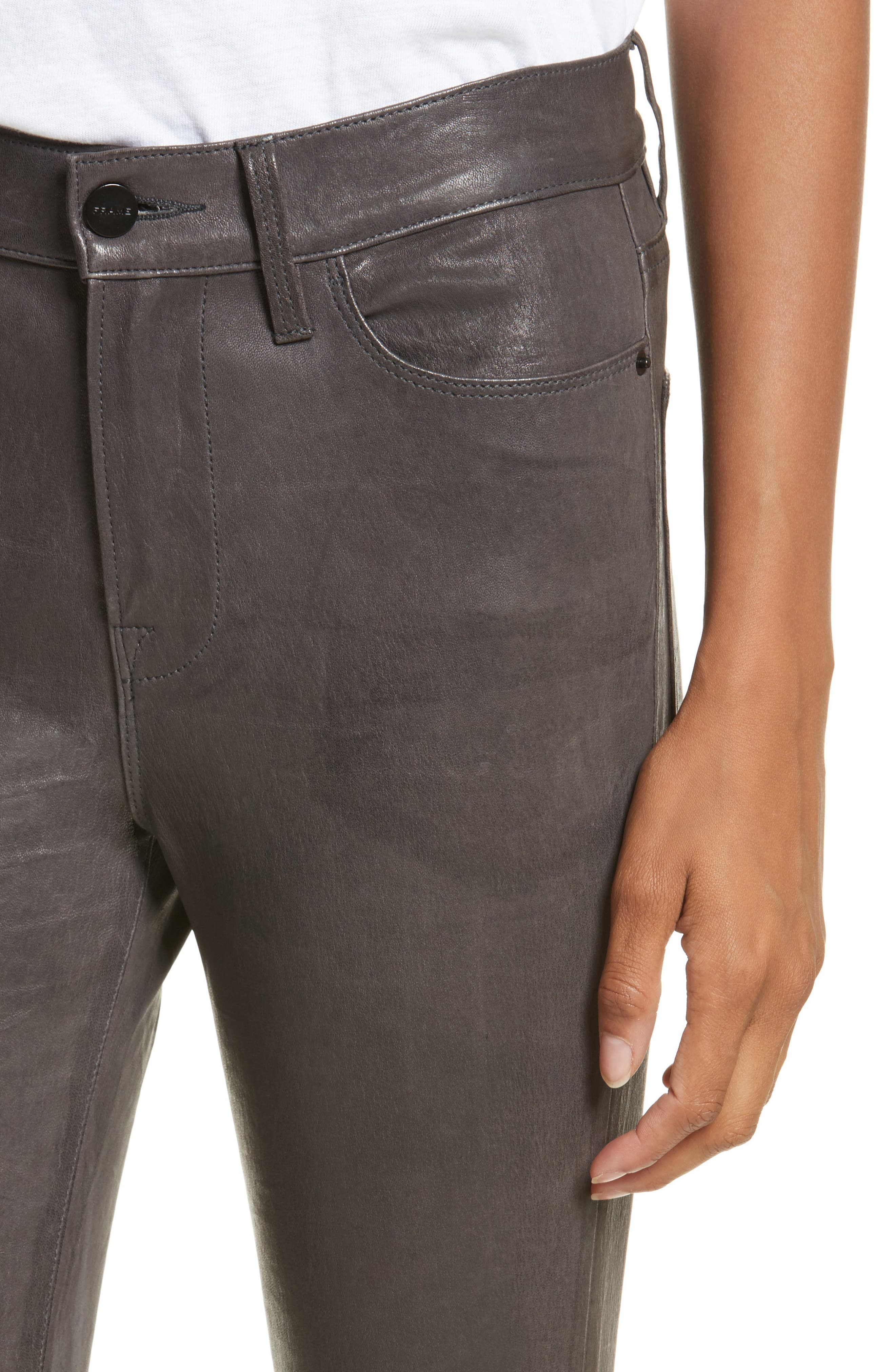Le High Skinny Slit Leather Pants,                             Alternate thumbnail 4, color,                             Charcoal