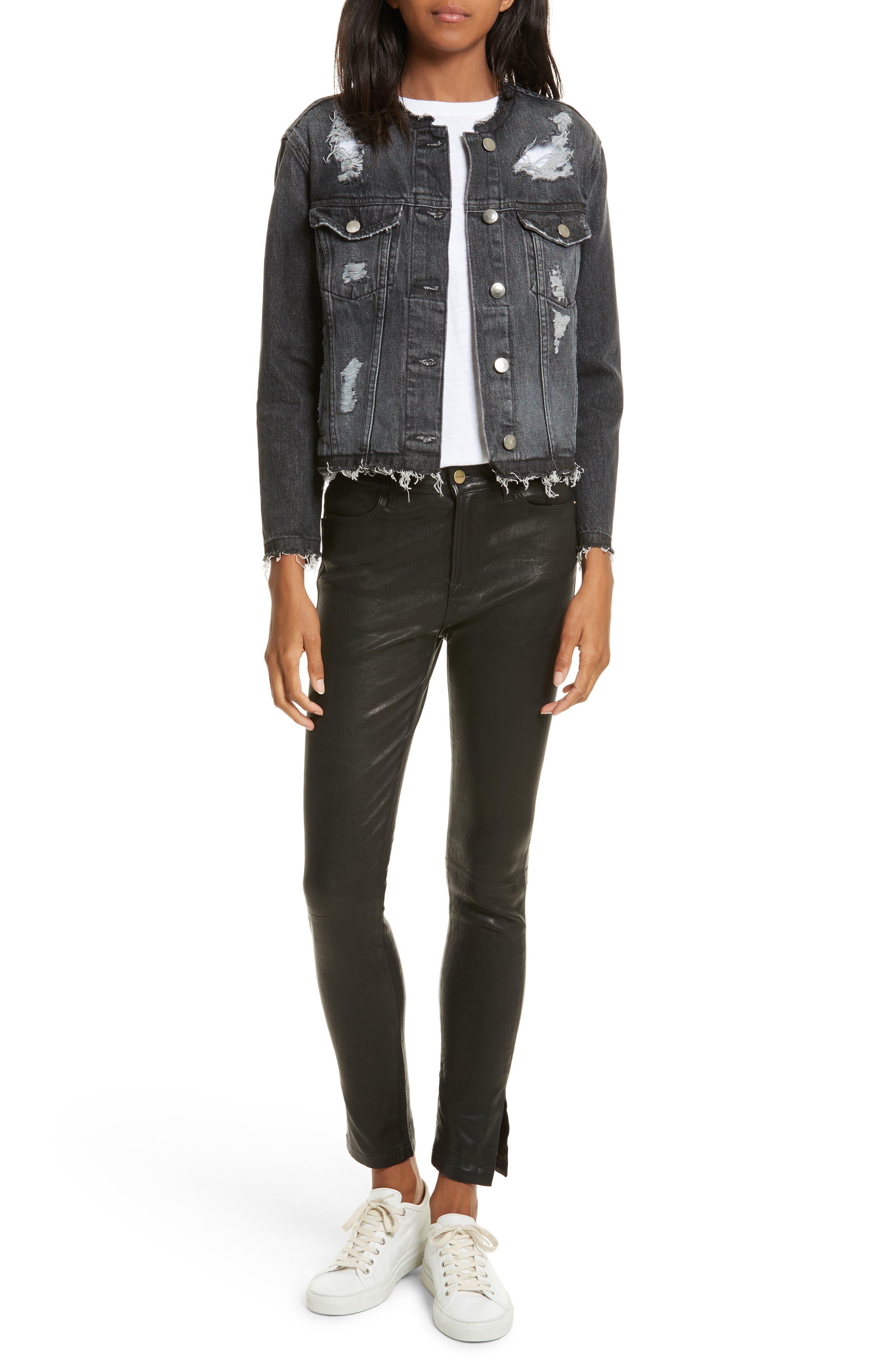 Le High Skinny Slit Leather Pants,                             Alternate thumbnail 6, color,                             Washed Black