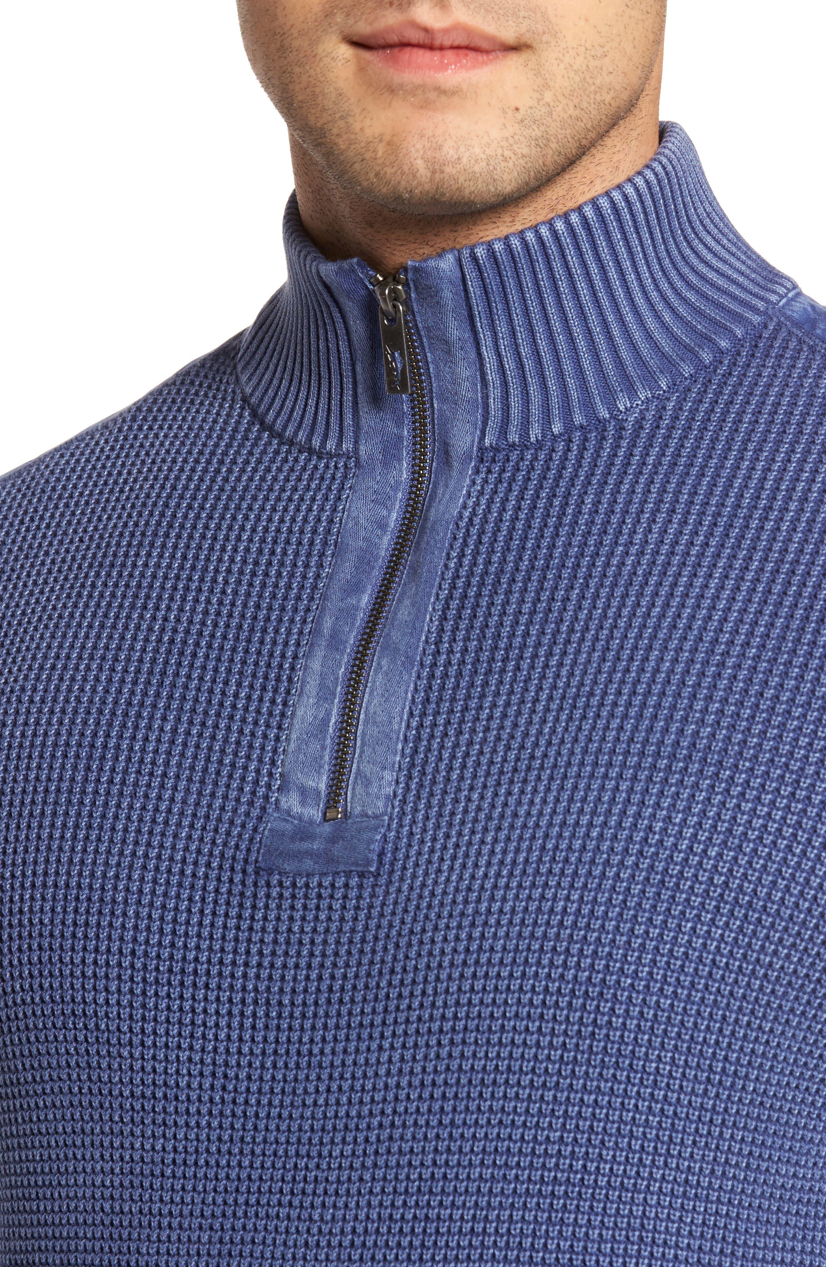Coastal Shores Quarter Zip Sweater,                             Alternate thumbnail 5, color,                             Downpour