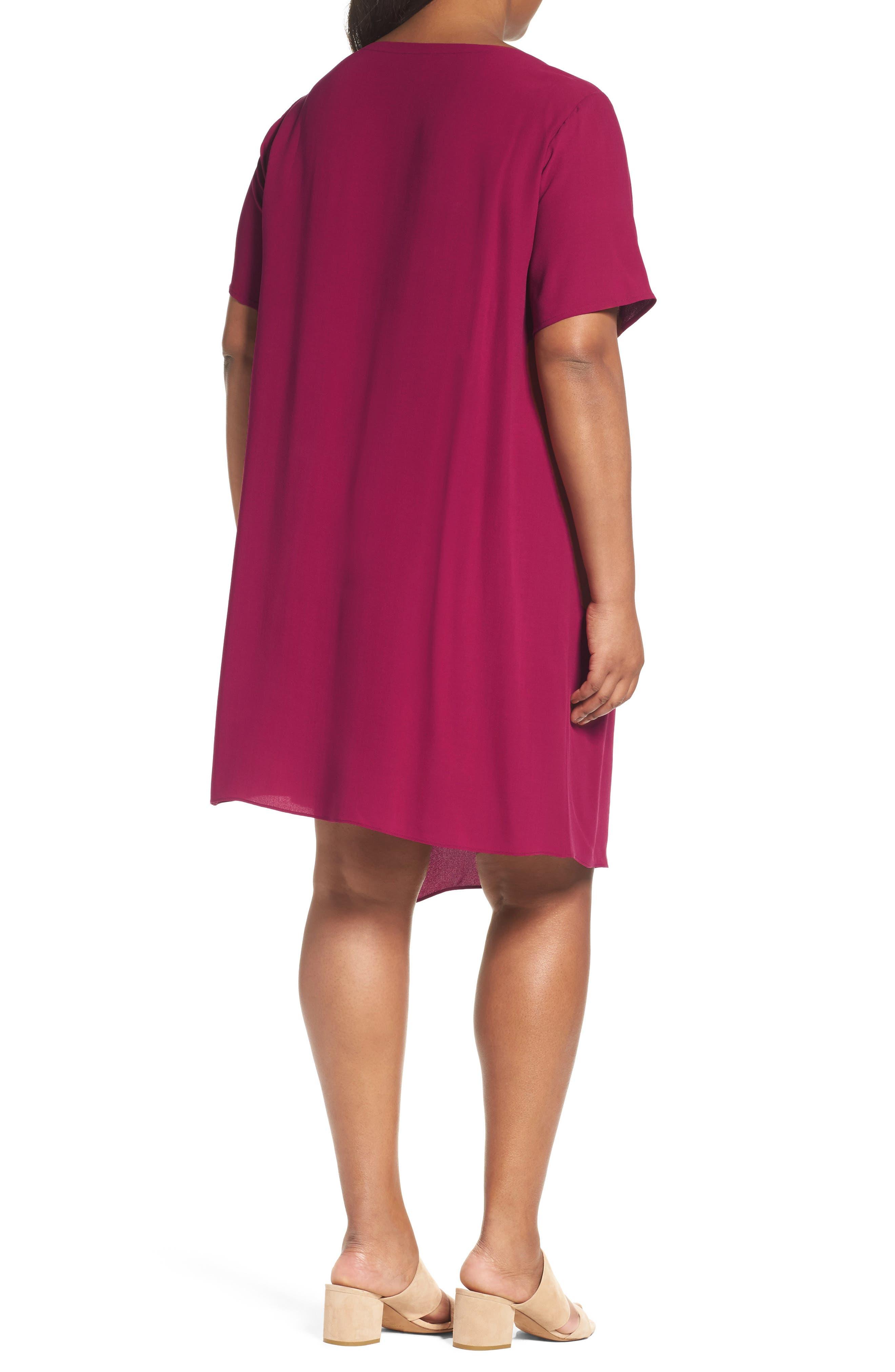 Asymmetrical Silk Shift Dress,                             Alternate thumbnail 2, color,                             Hibiscus
