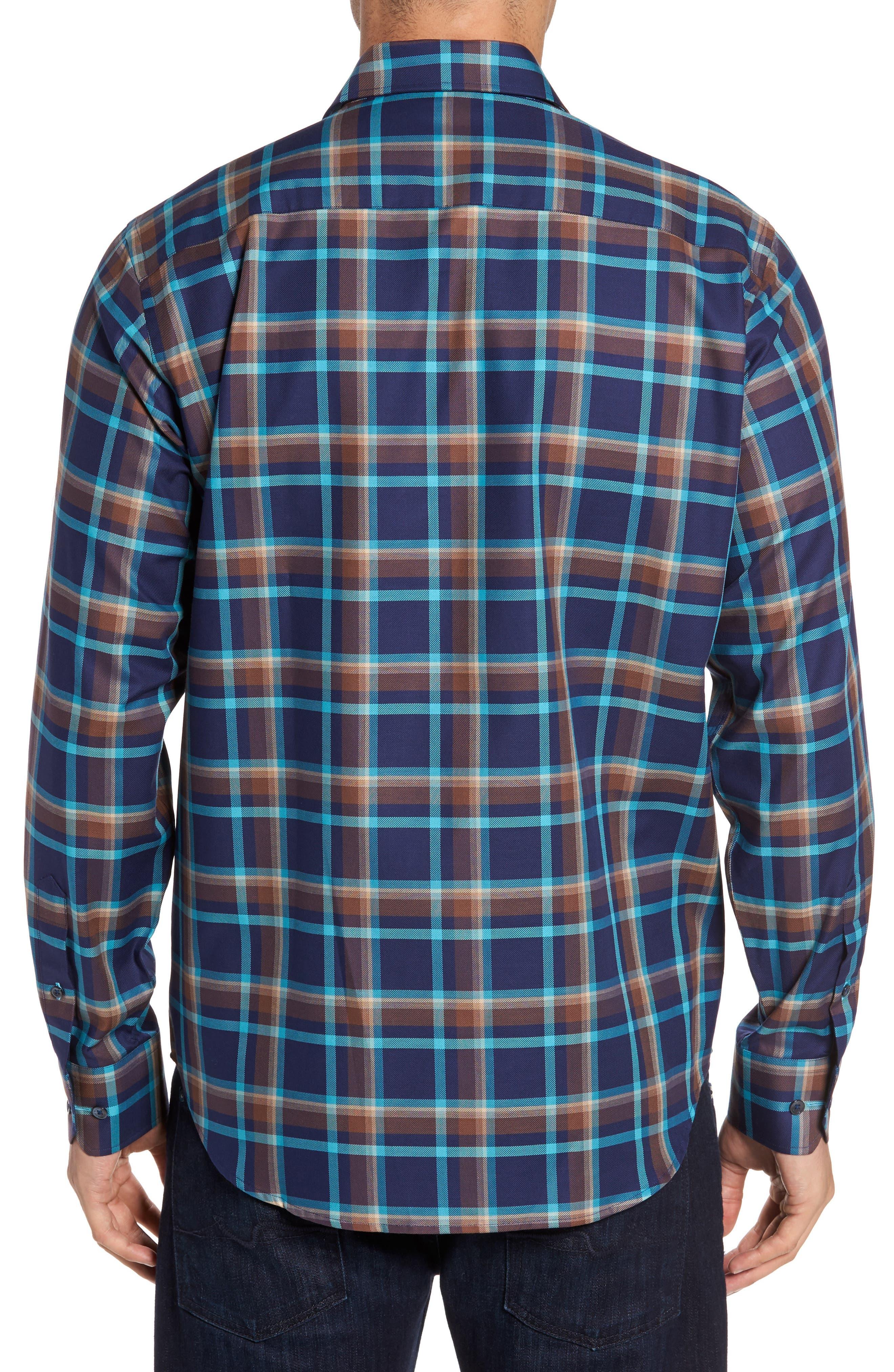 Classic Fit Check Sport Shirt,                             Alternate thumbnail 2, color,                             Navy