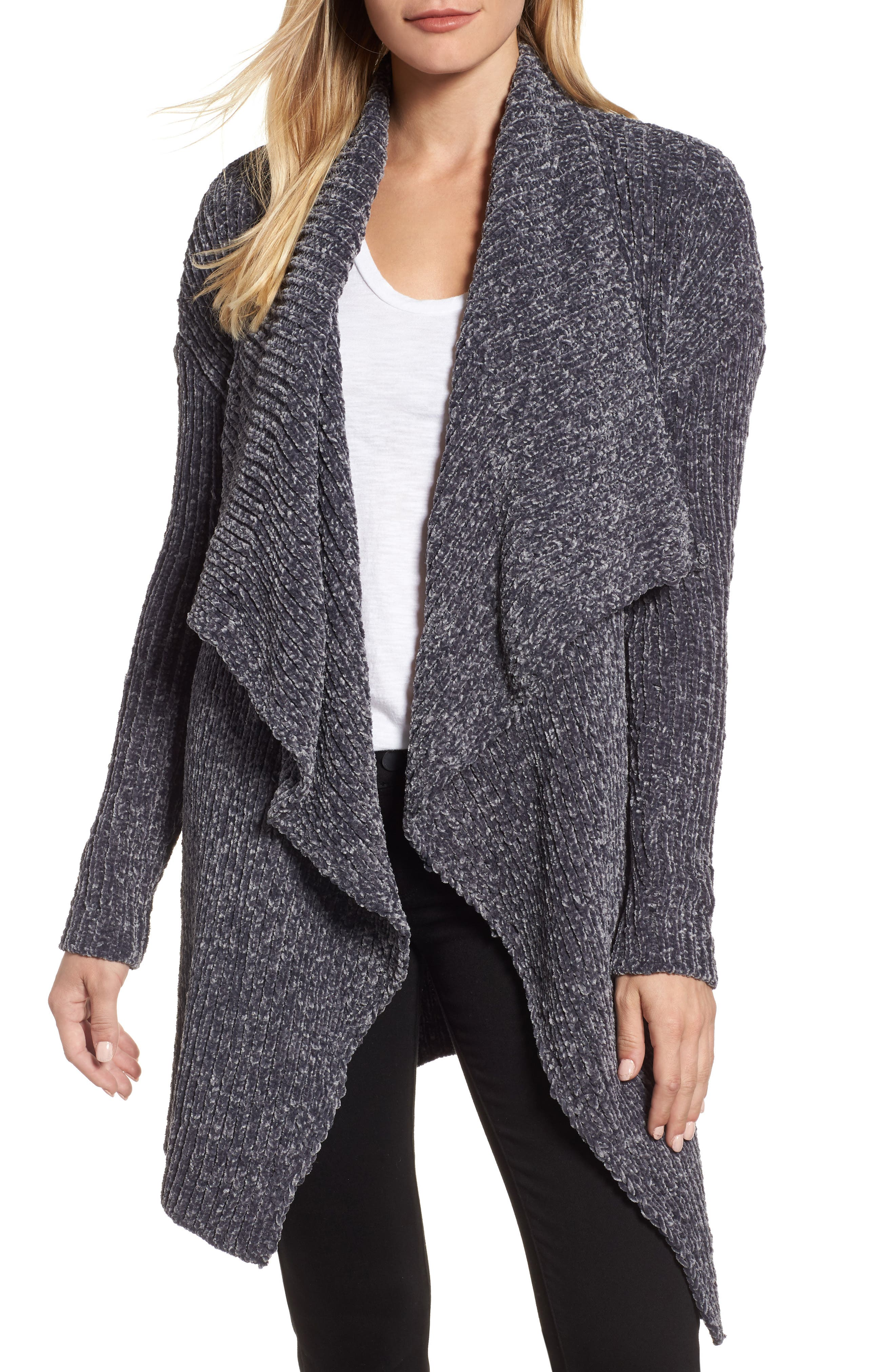 Long Sleeve Chenille Cardigan,                         Main,                         color, Grey Ebony