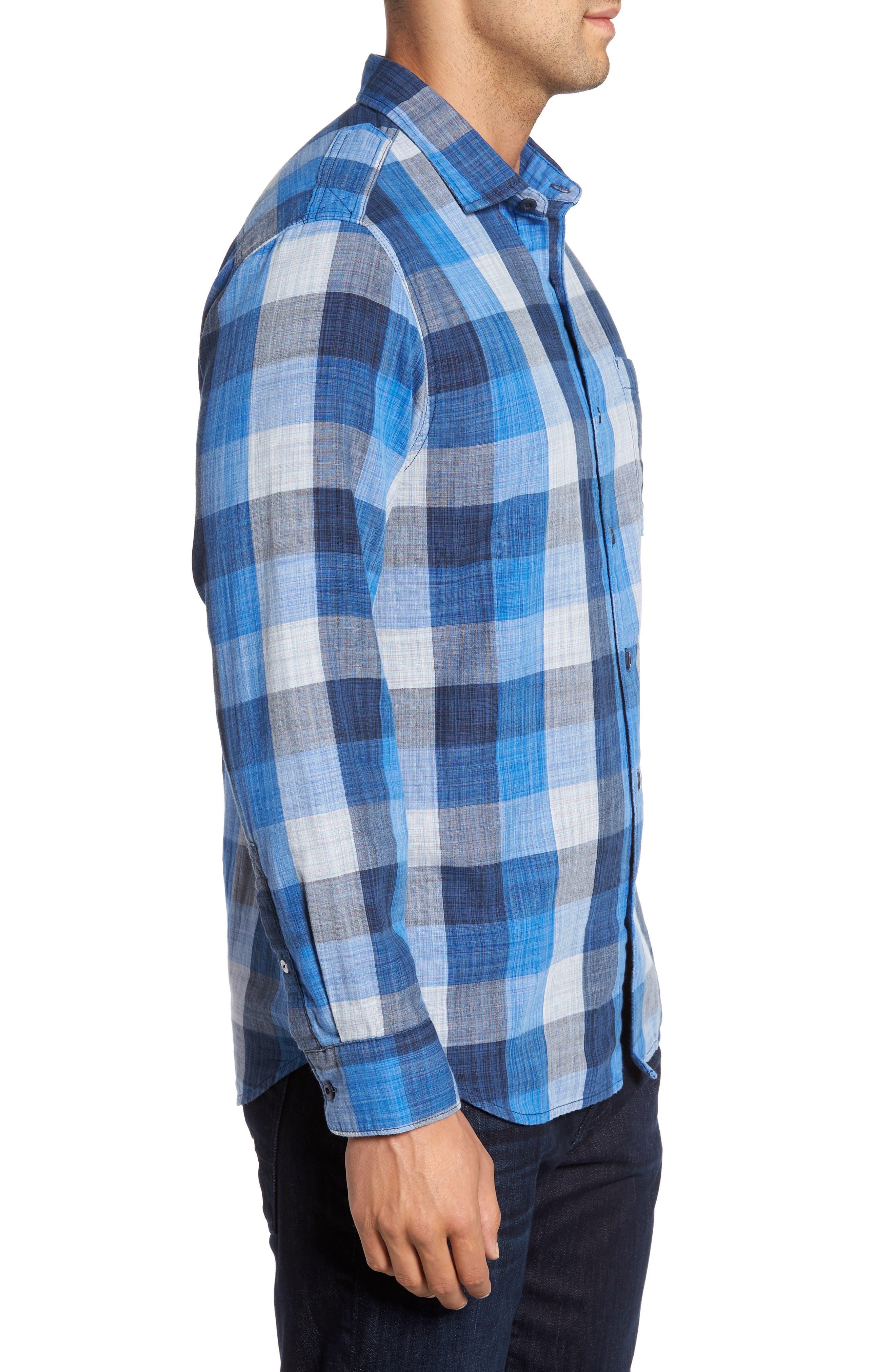 Dual Lux Standard Fit Check Sport Shirt,                             Alternate thumbnail 3, color,                             Bering Blue