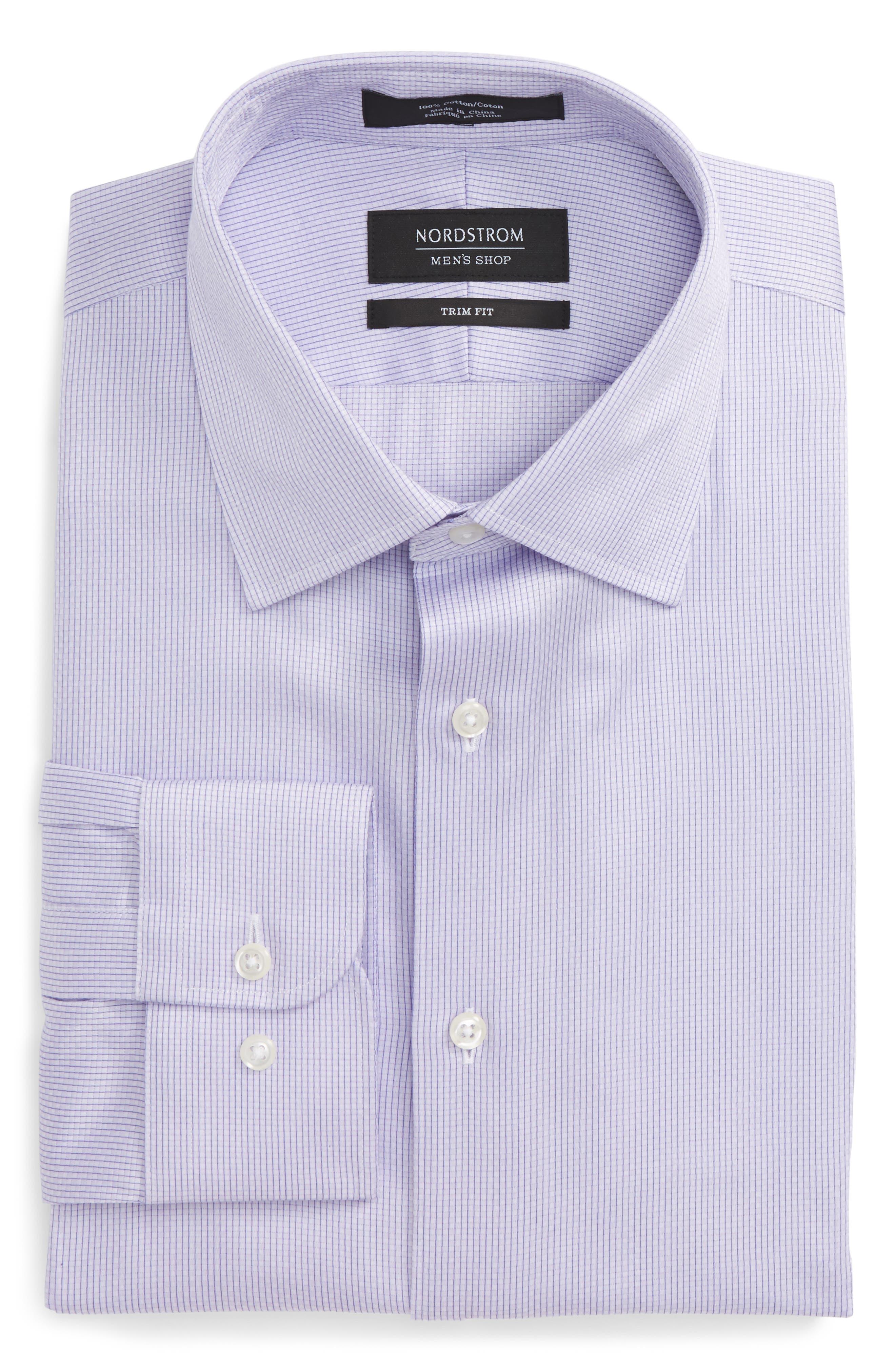Trim Fit Stripe Dress Shirt,                             Alternate thumbnail 6, color,                             Purple Heirloom