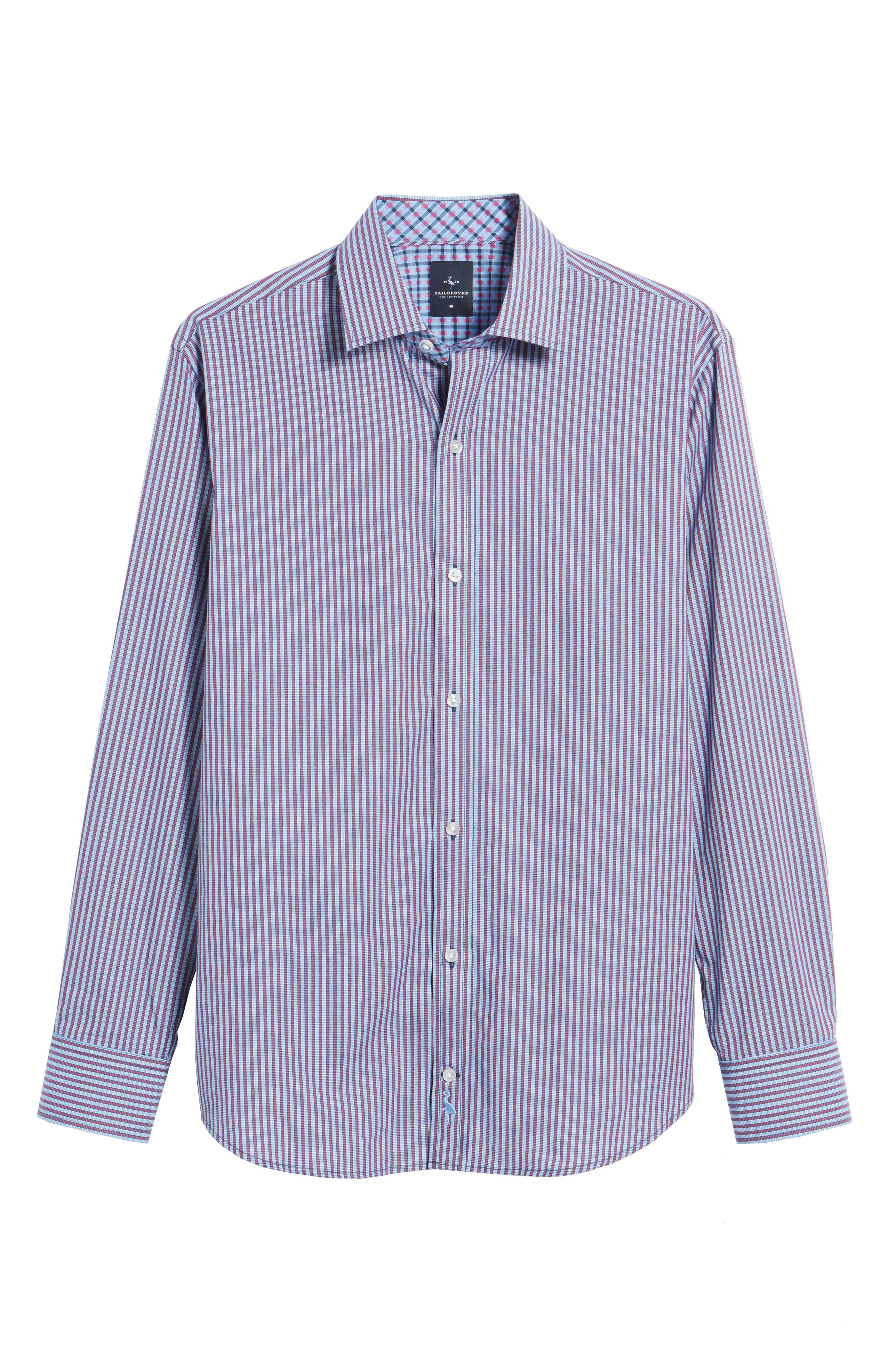 Brownfields Striped Sport Shirt,                             Alternate thumbnail 6, color,                             Merlot