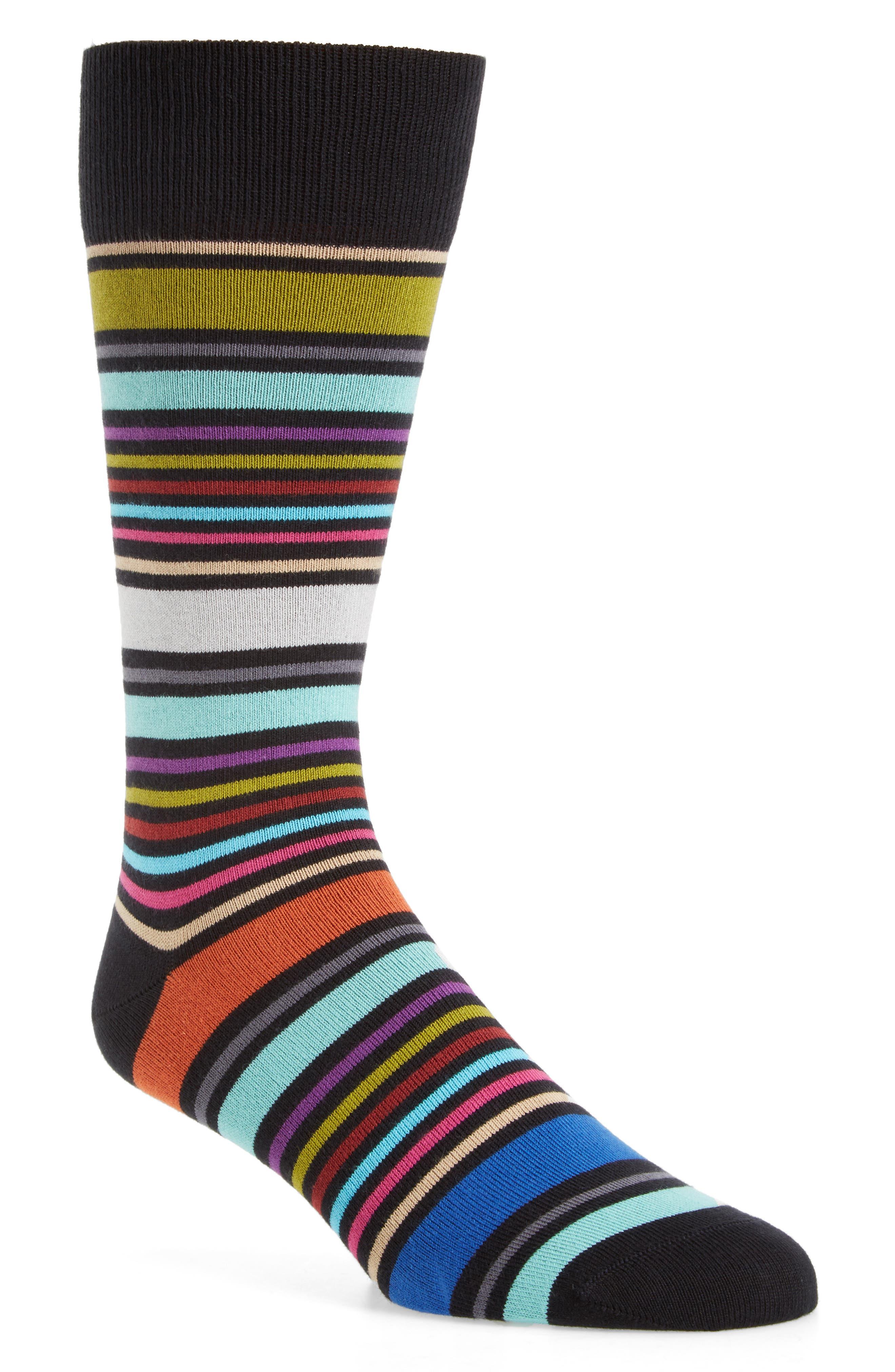 Wolfie Stripe Socks,                         Main,                         color, Black
