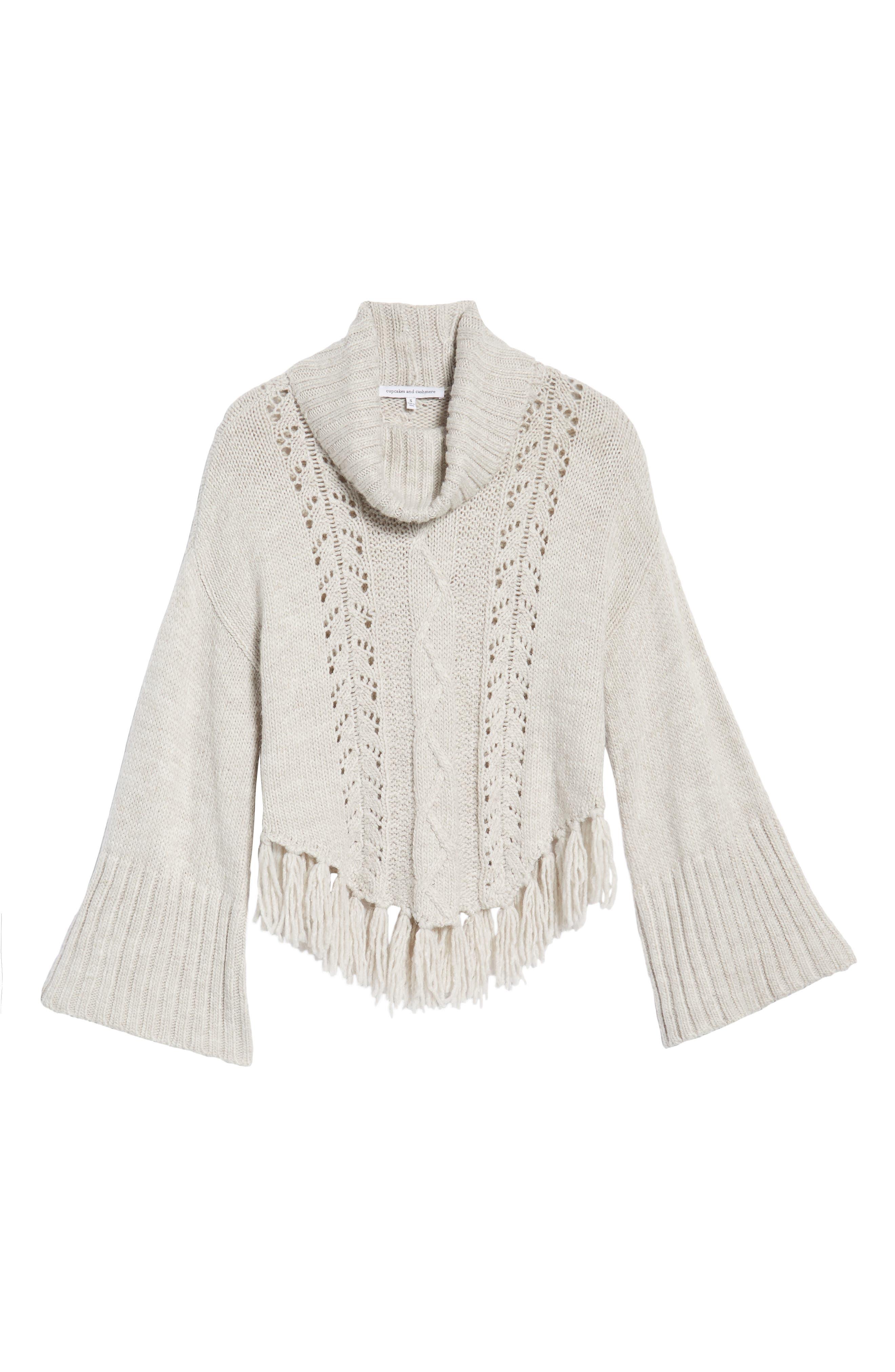 Prilla Fringe Cowl Neck Sweater,                             Alternate thumbnail 6, color,                             Latte