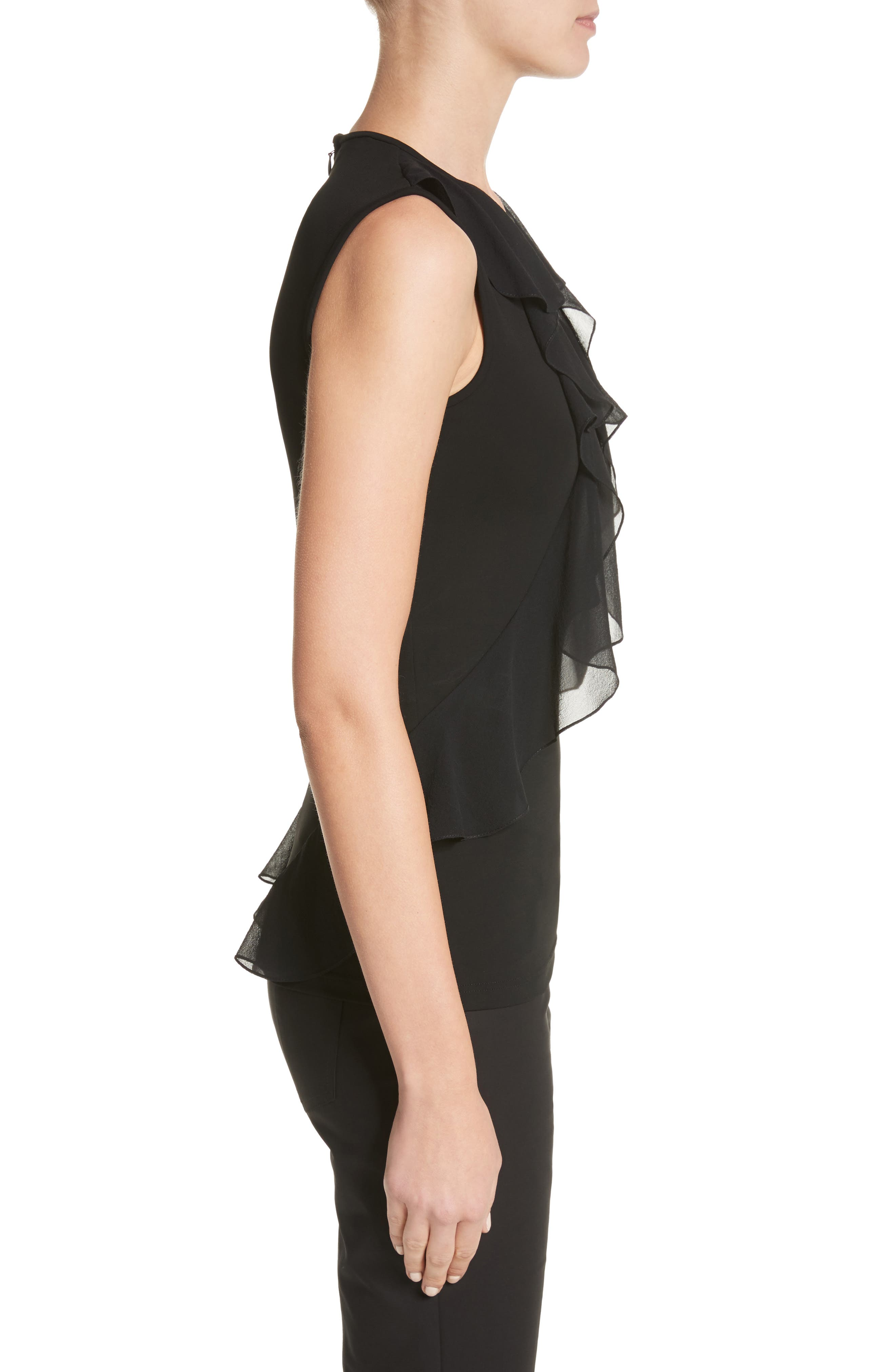 Ruffle Front Georgette Shell,                             Alternate thumbnail 4, color,                             Black