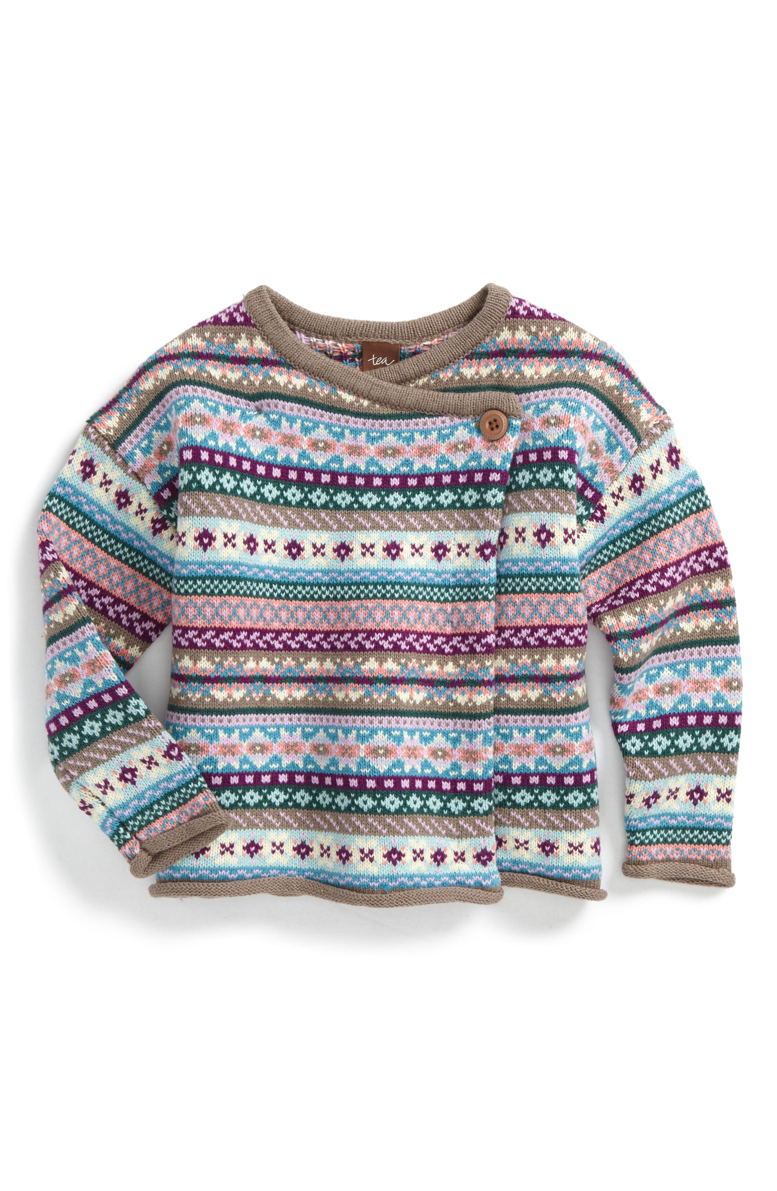 Tea Collection Caspian Fair Isle Knit Cardigan (Toddler Girls, Little Girls & Big Girls)